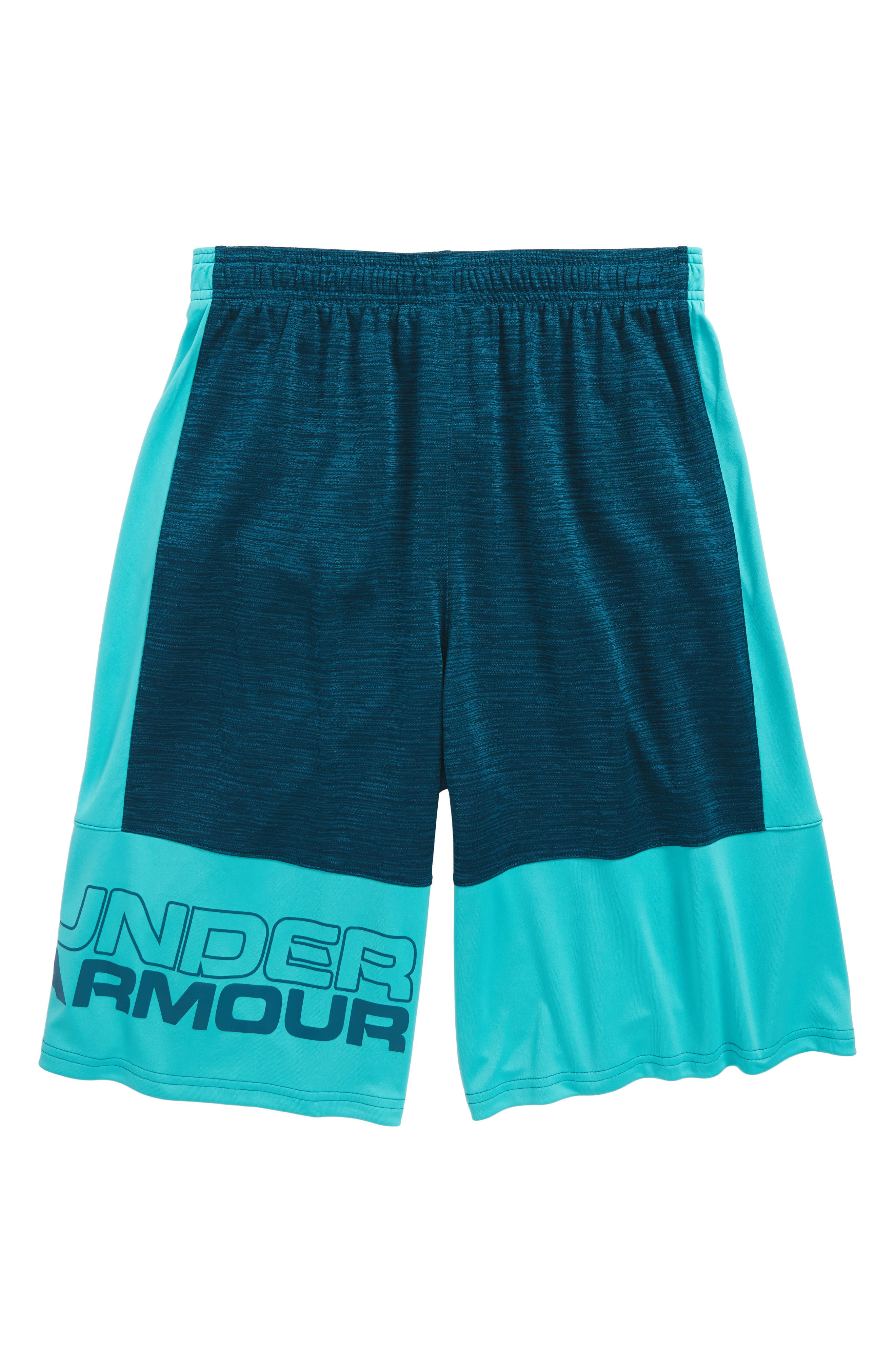 Stunt HeatGear<sup>®</sup> Shorts,                             Alternate thumbnail 2, color,                             Troumaline Teal/ Teal Punch