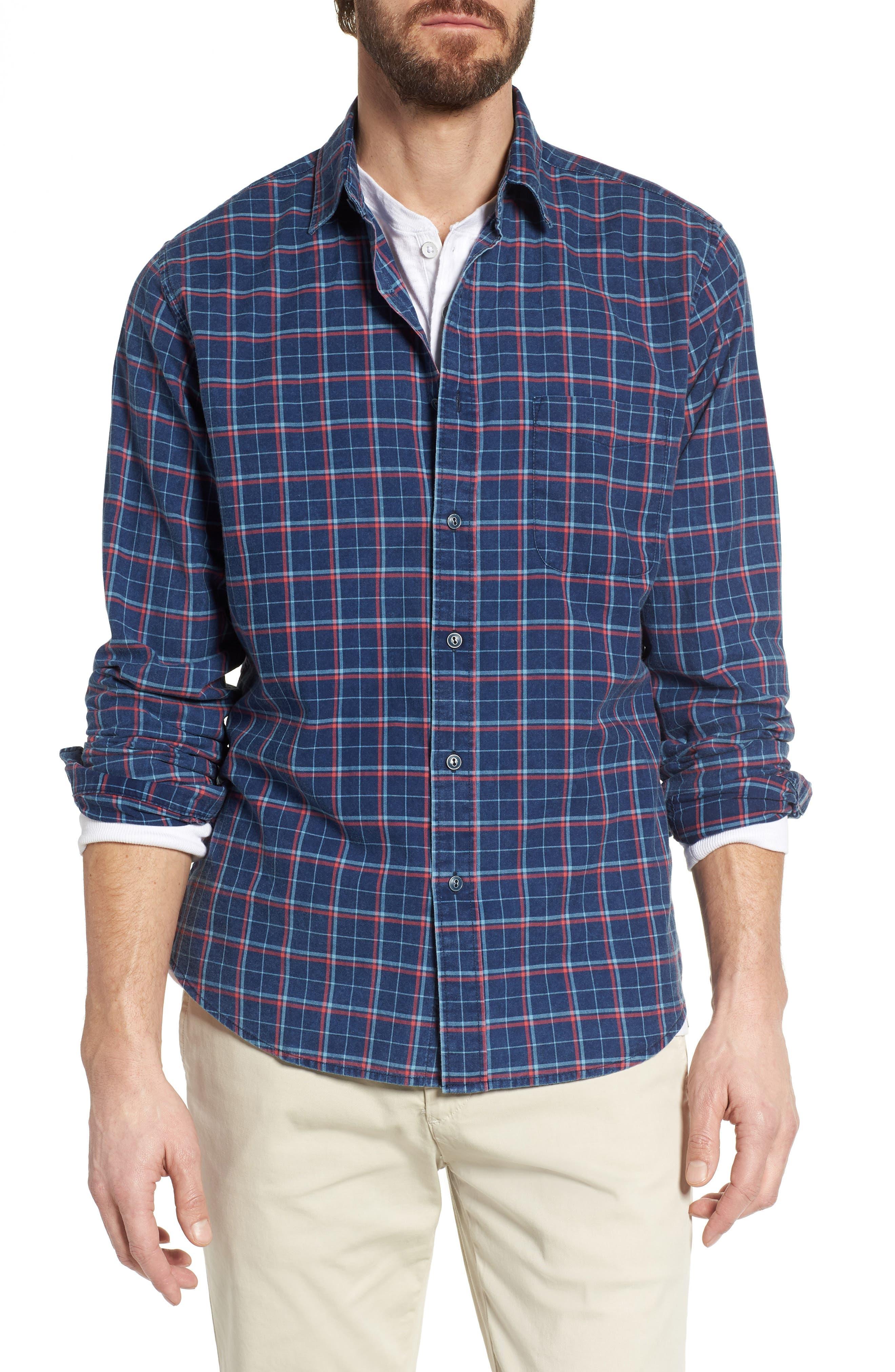 Ventura Plaid Sport Shirt,                             Main thumbnail 1, color,                             Dark Indigo Multi