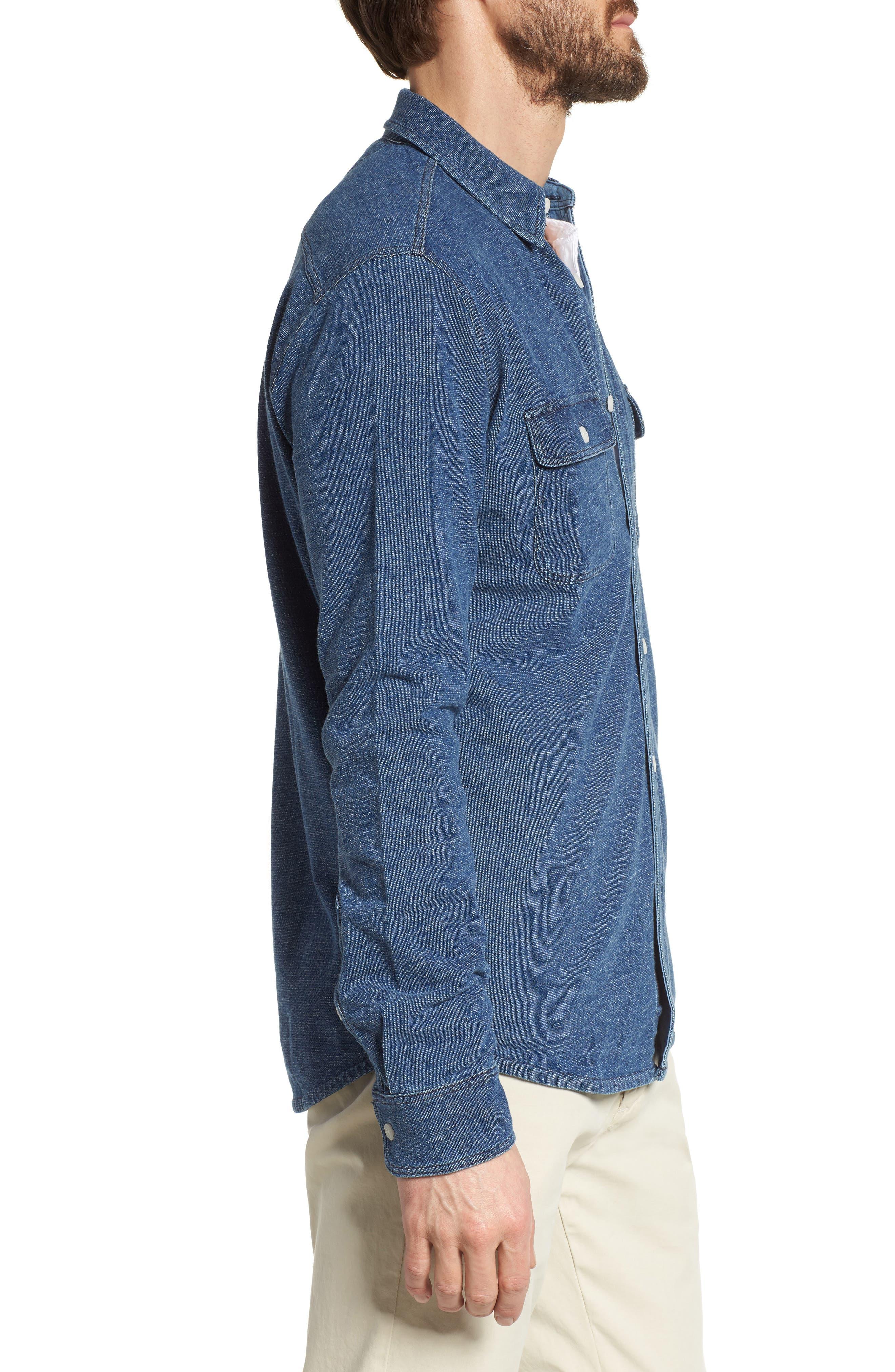 Belmar Chambray Knit Sport Shirt,                             Alternate thumbnail 3, color,                             Medium Wash Indigo