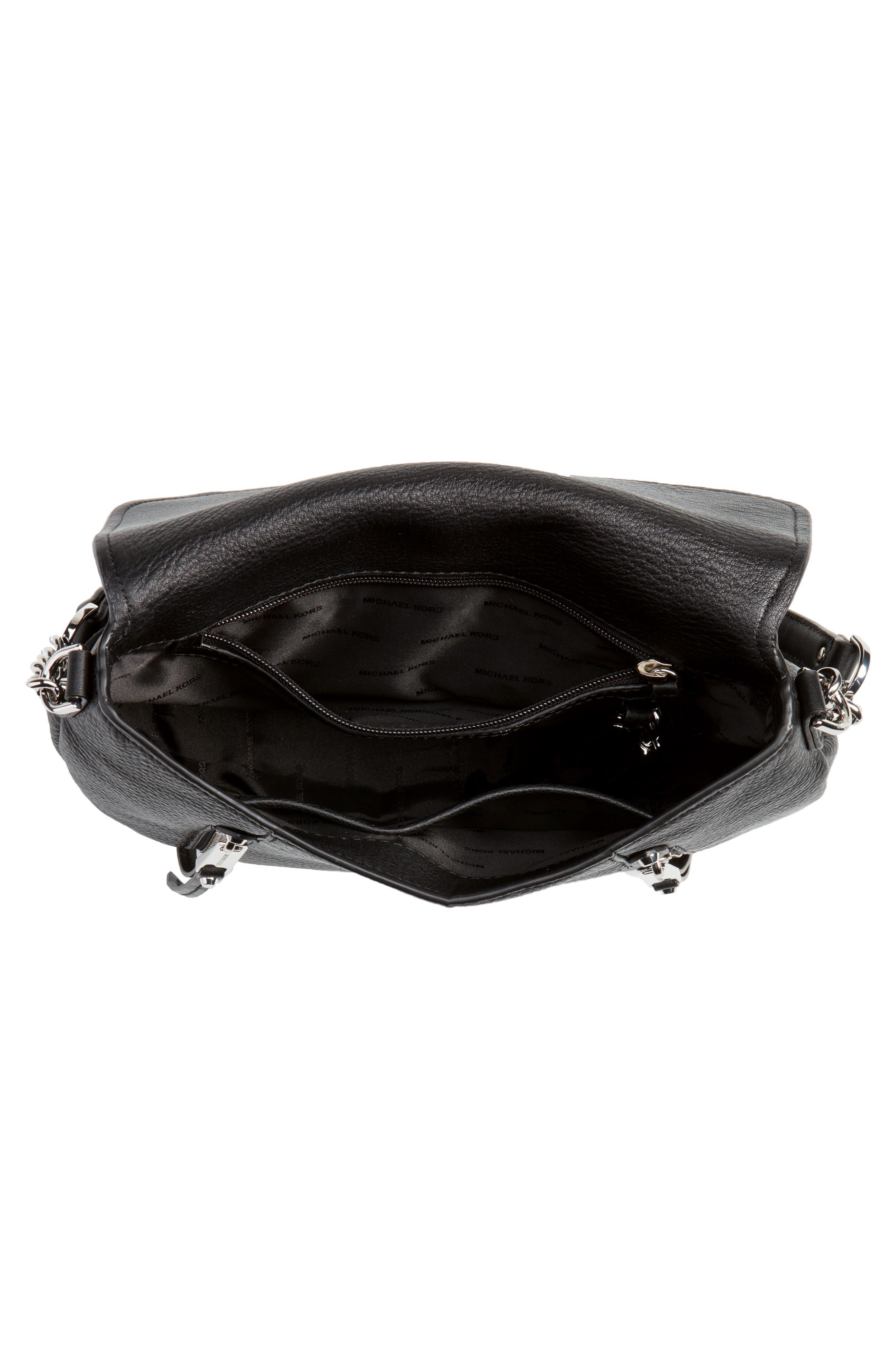 Medium Leather Shoulder Bag,                             Alternate thumbnail 4, color,                             Black