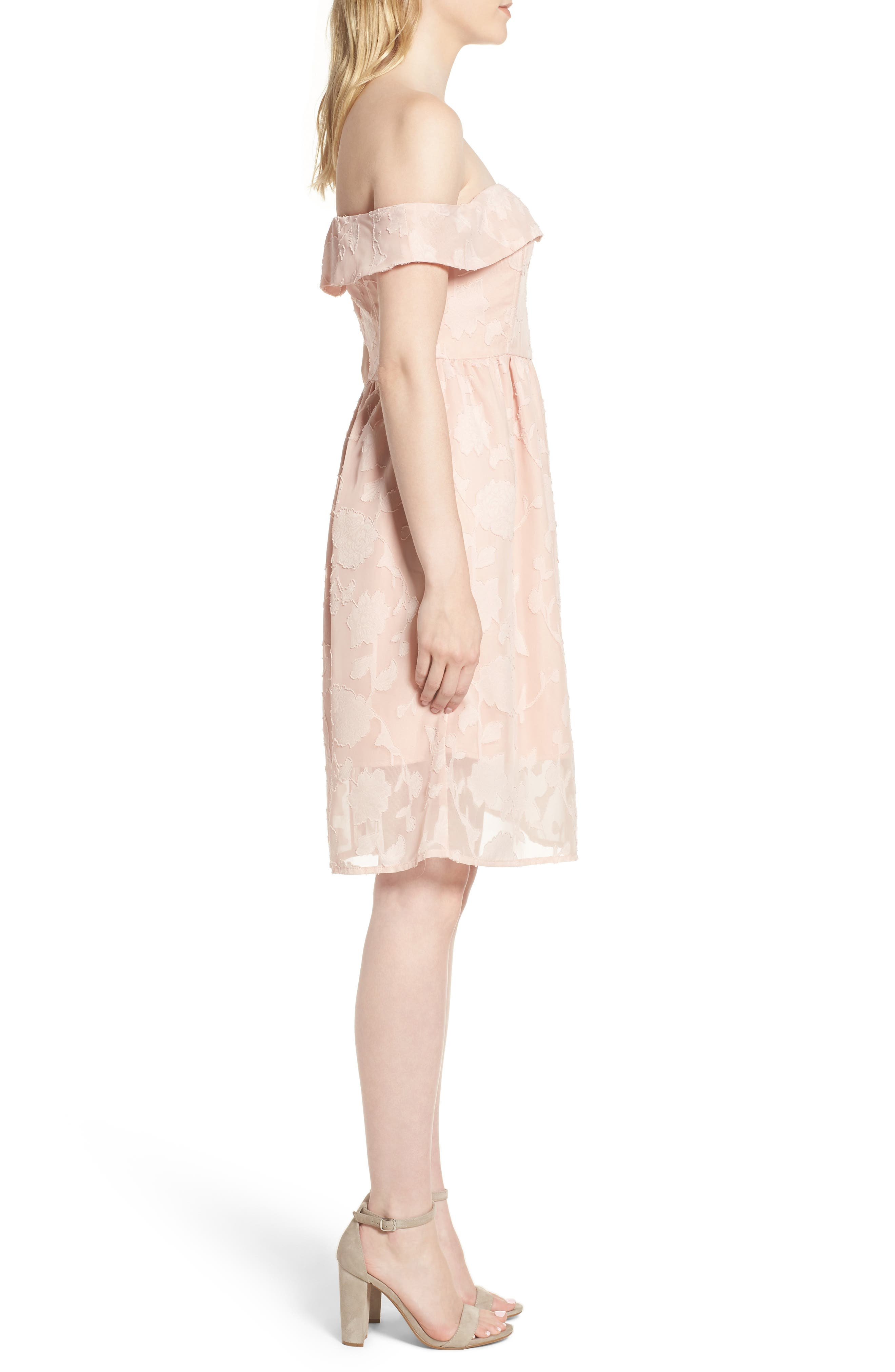 Honey Off the Shoulder Dress,                             Alternate thumbnail 3, color,                             Muted Peach