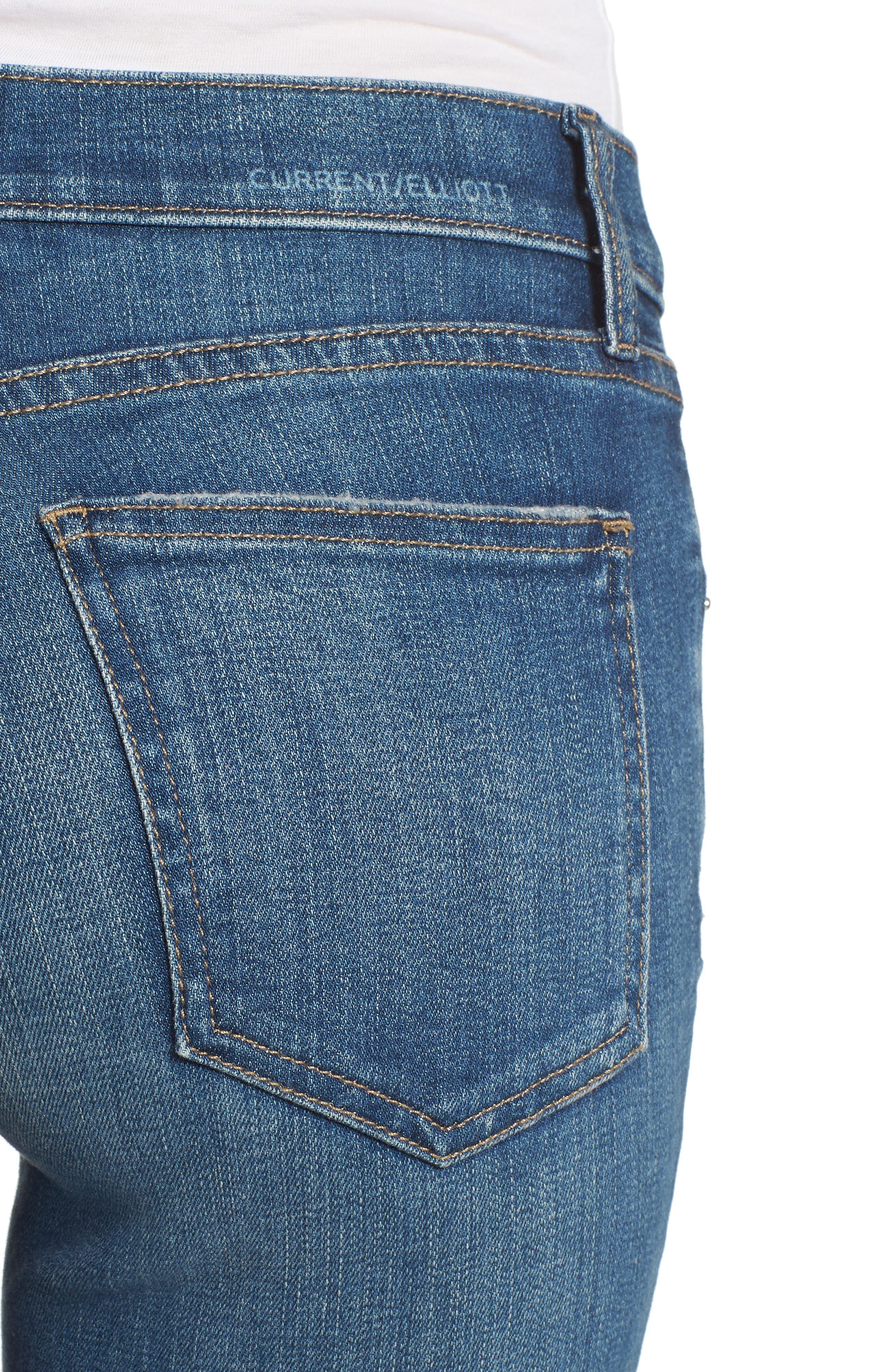 The High Waist Ankle Skinny Jeans,                             Alternate thumbnail 4, color,                             Joey Dark Destroy