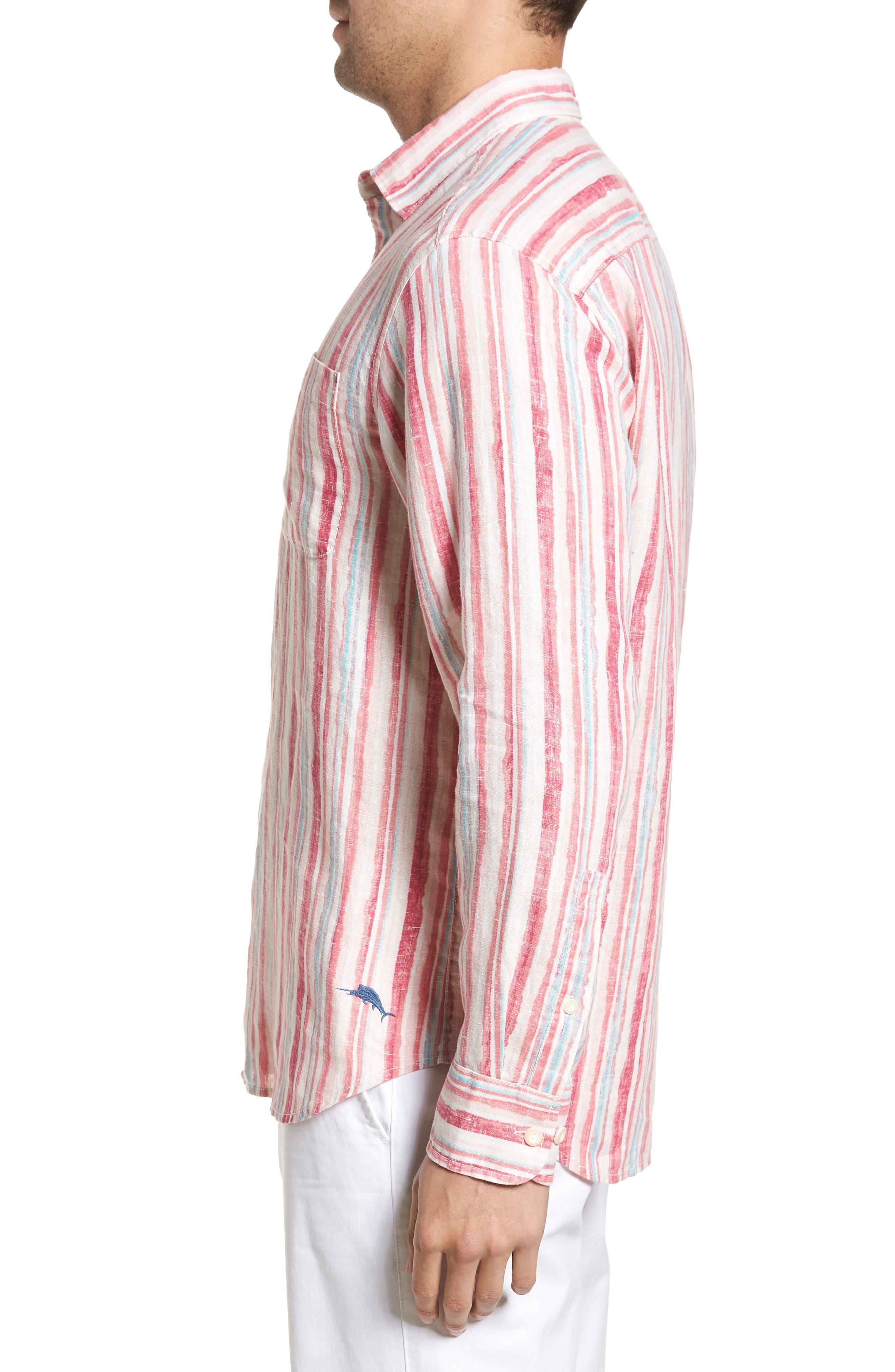 Alternate Image 3  - Tommy Bahama Watercrest Stripe Linen Sport Shirt