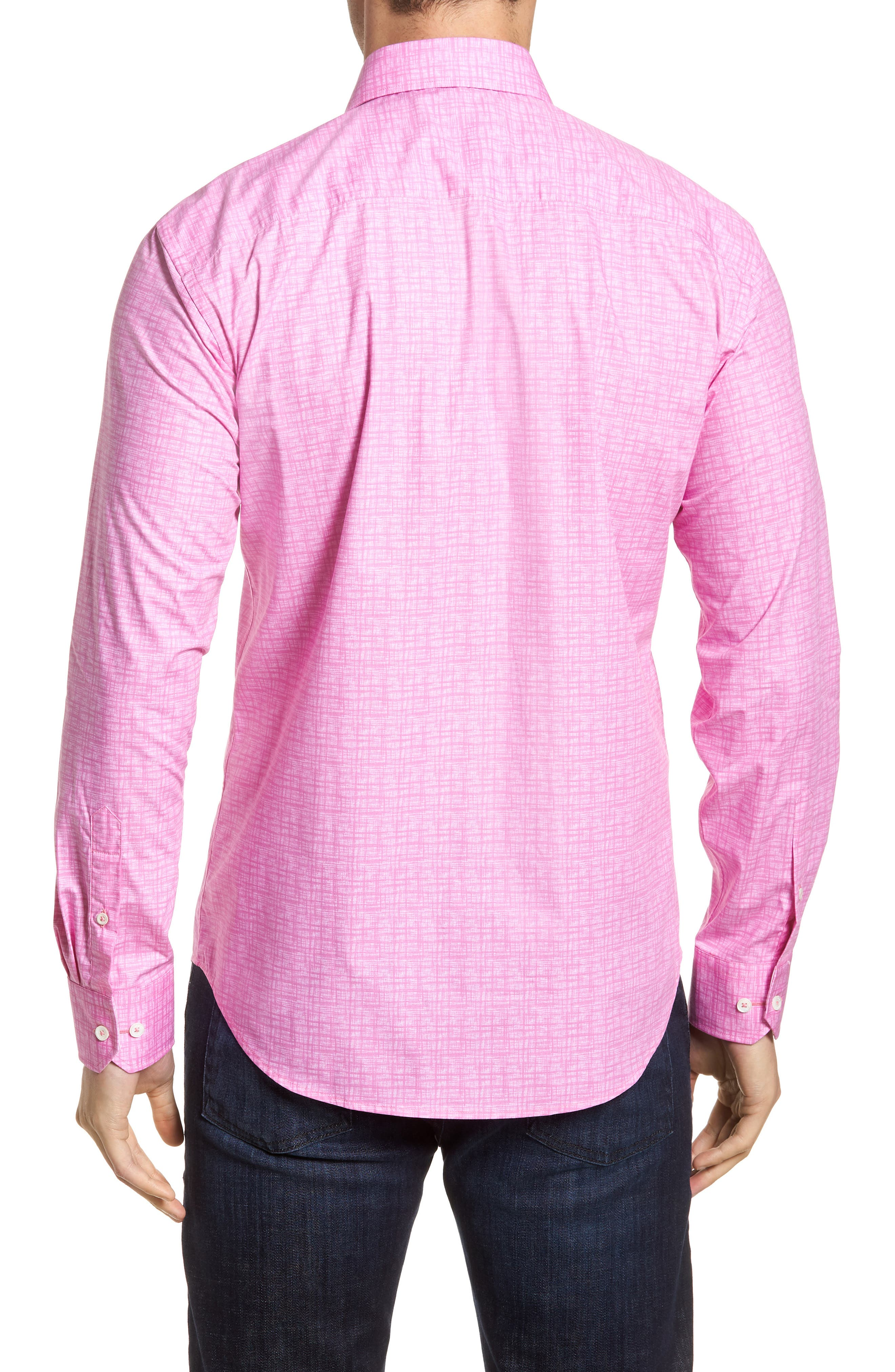 Freehand Shaped Fit Sport Shirt,                             Alternate thumbnail 3, color,                             Pink