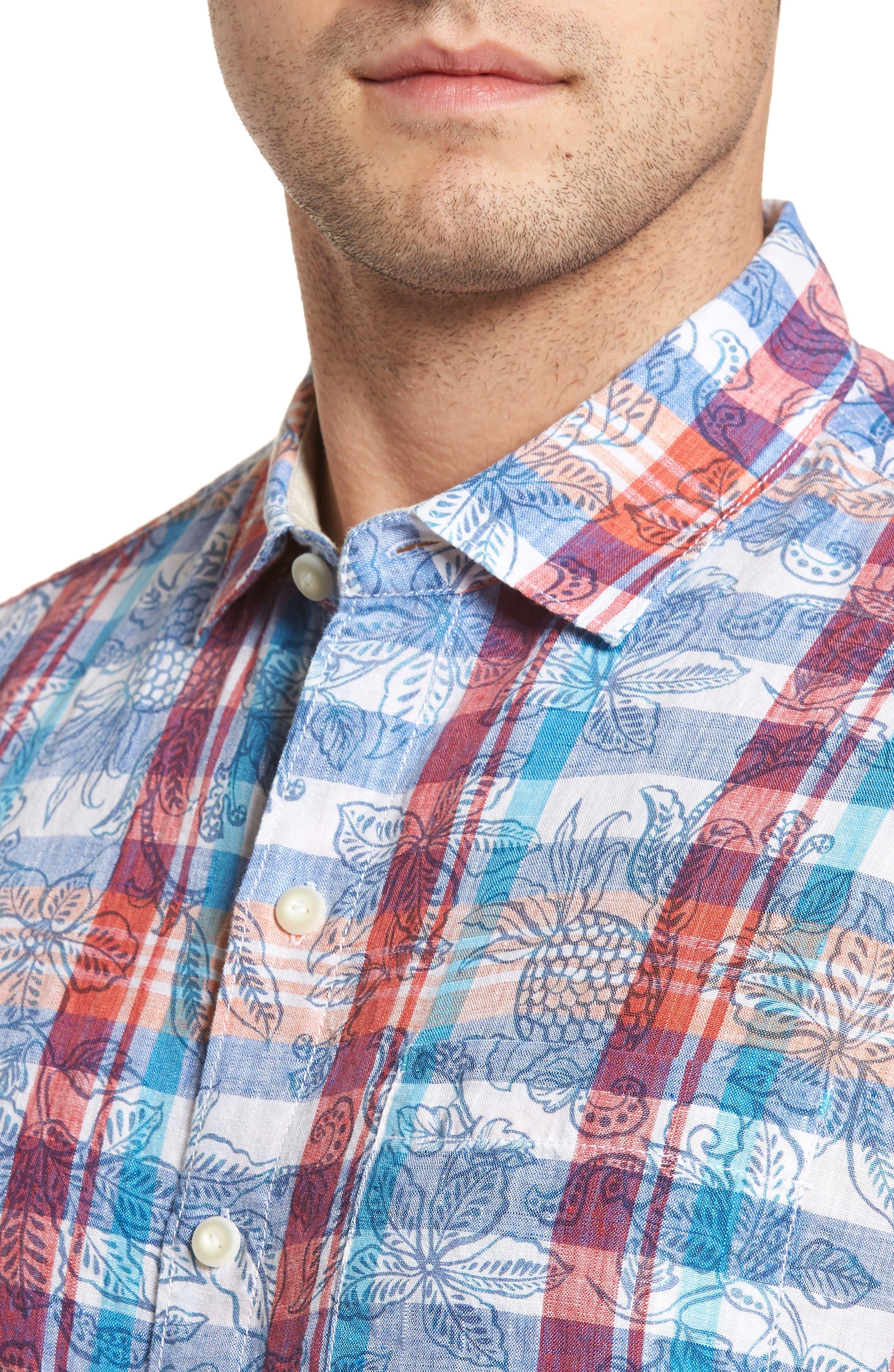 Tropico Madras Linen Sport Shirt,                             Alternate thumbnail 4, color,                             Cobalt Sea