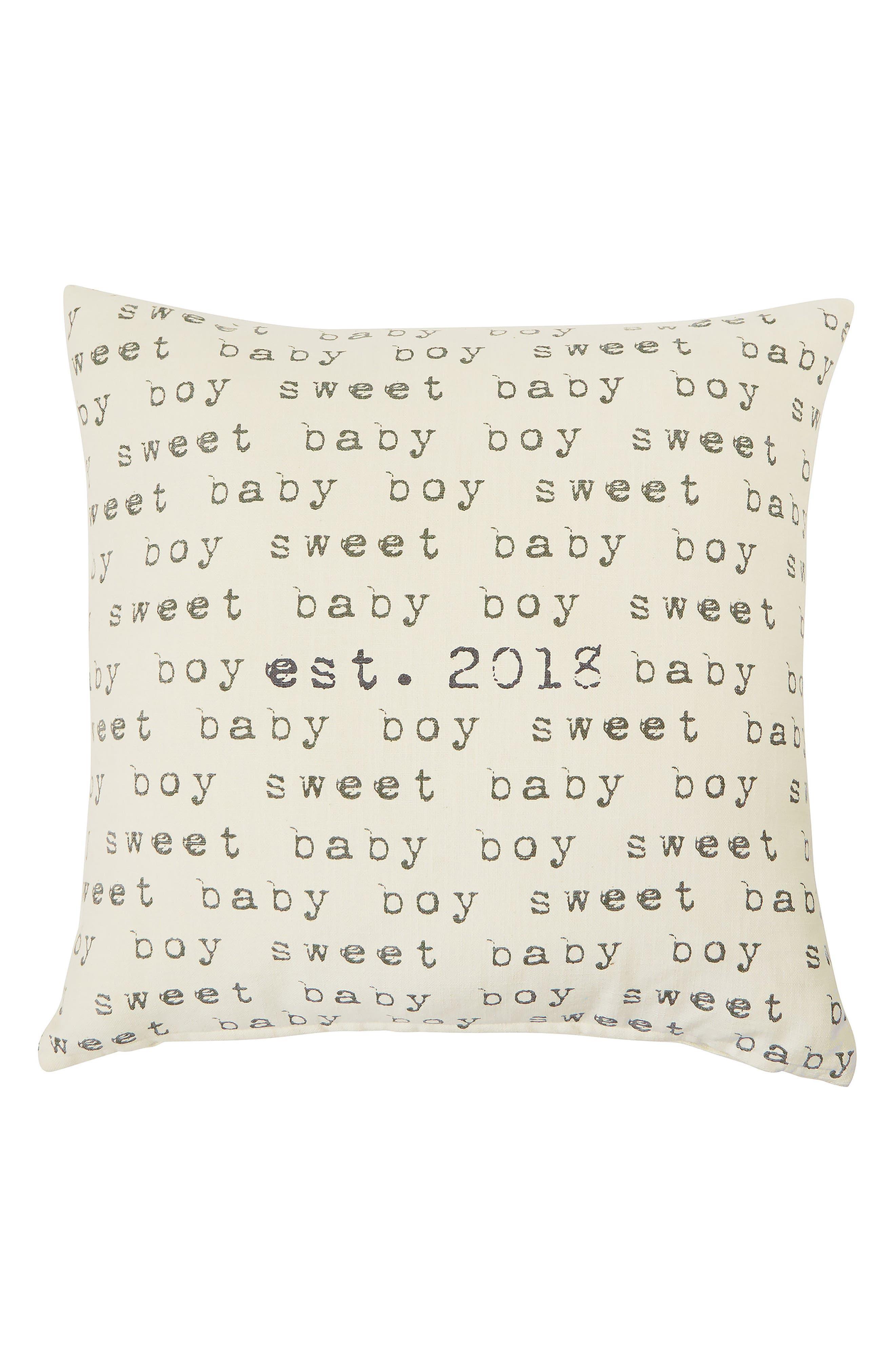 Sweet Baby Boy Est. 2018 Pillow,                             Main thumbnail 1, color,                             Tan
