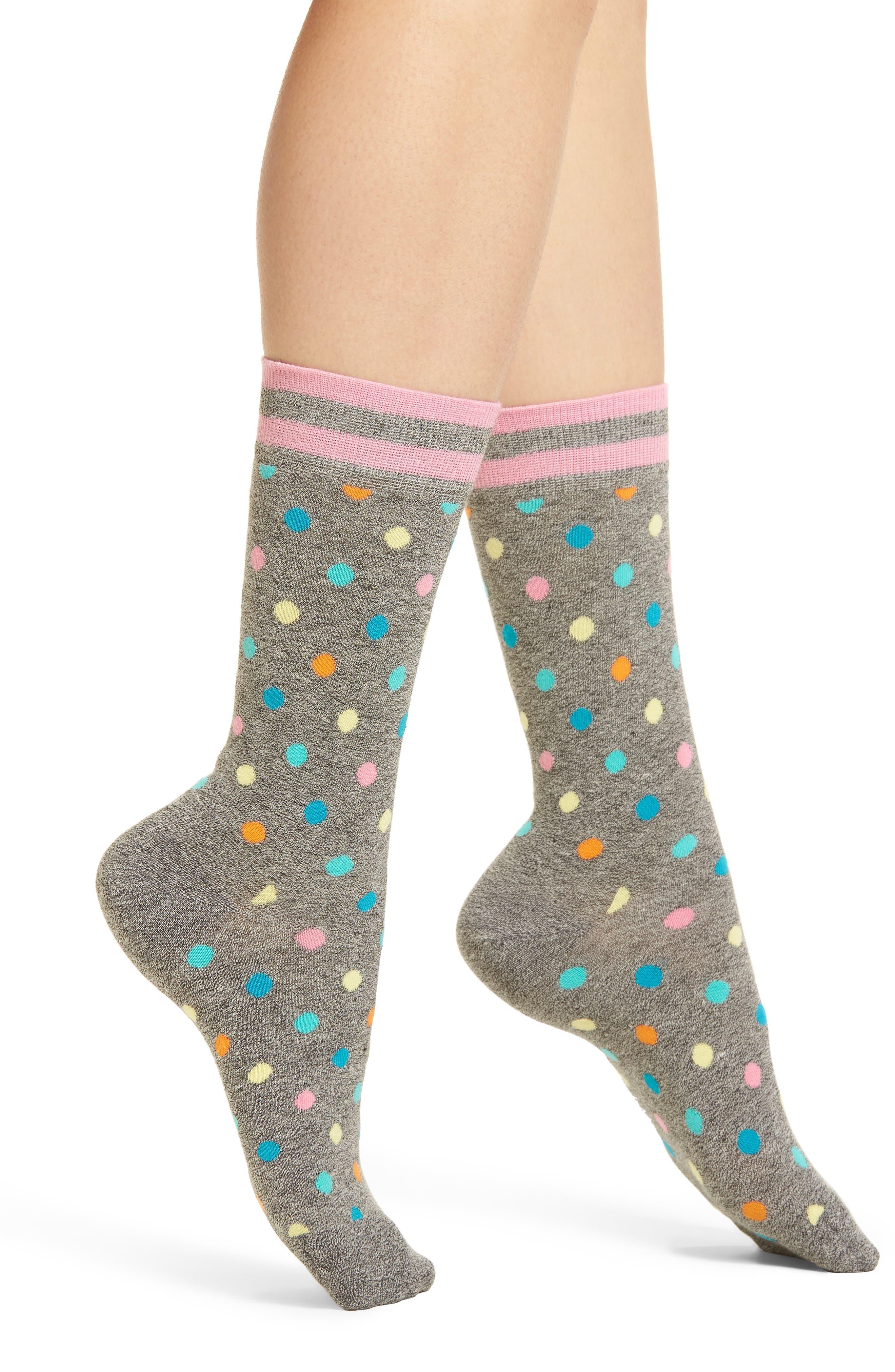 Dot & Stripe Crew Socks,                             Main thumbnail 1, color,                             Black
