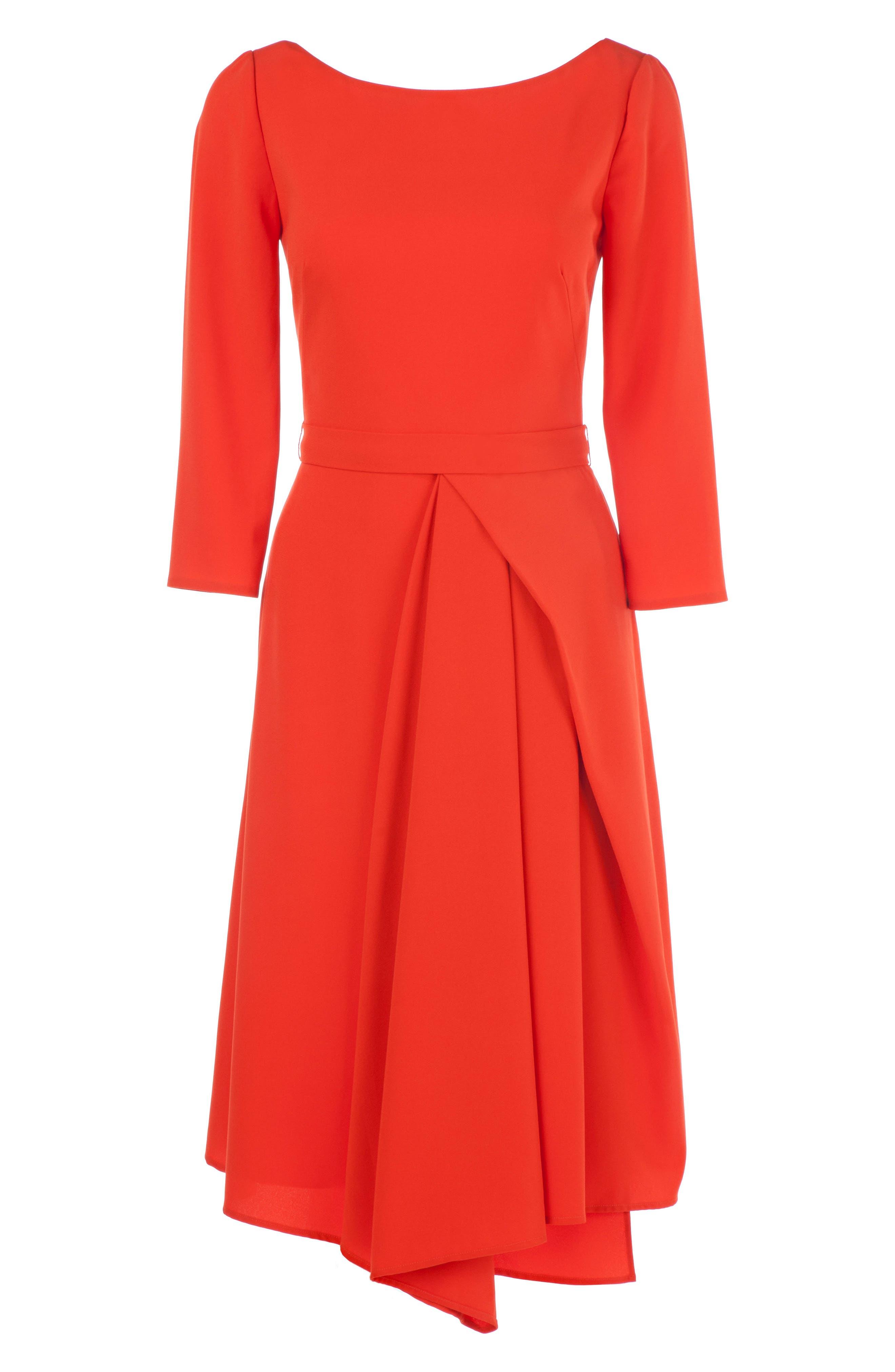 Asymmetrical Pleat V-Back Dress,                             Alternate thumbnail 3, color,                             Coral