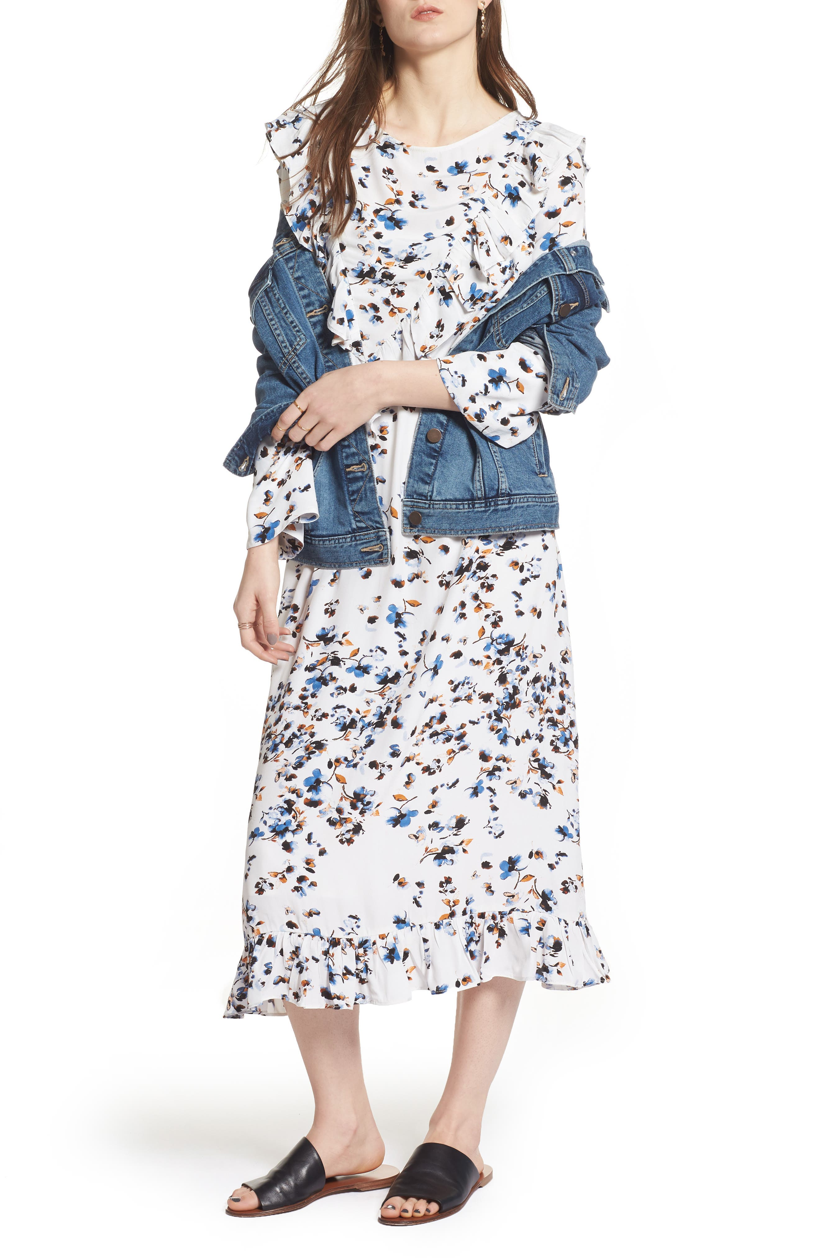 Print Ruffle Maxi Dress,                         Main,                         color, White Scattered Floral