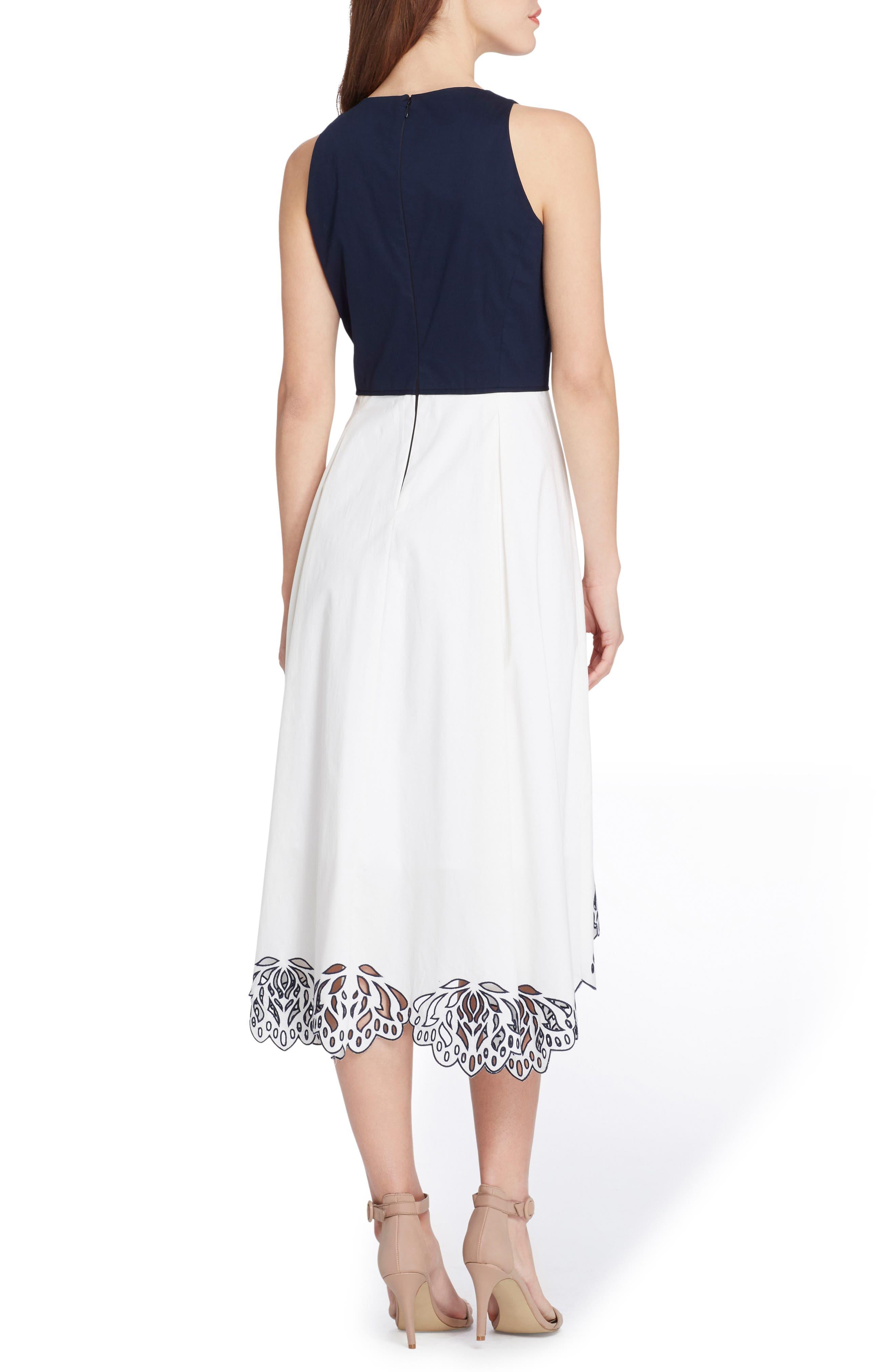 Sleeveless Floral Hem Midi Dress,                             Alternate thumbnail 2, color,                             White/ Navy