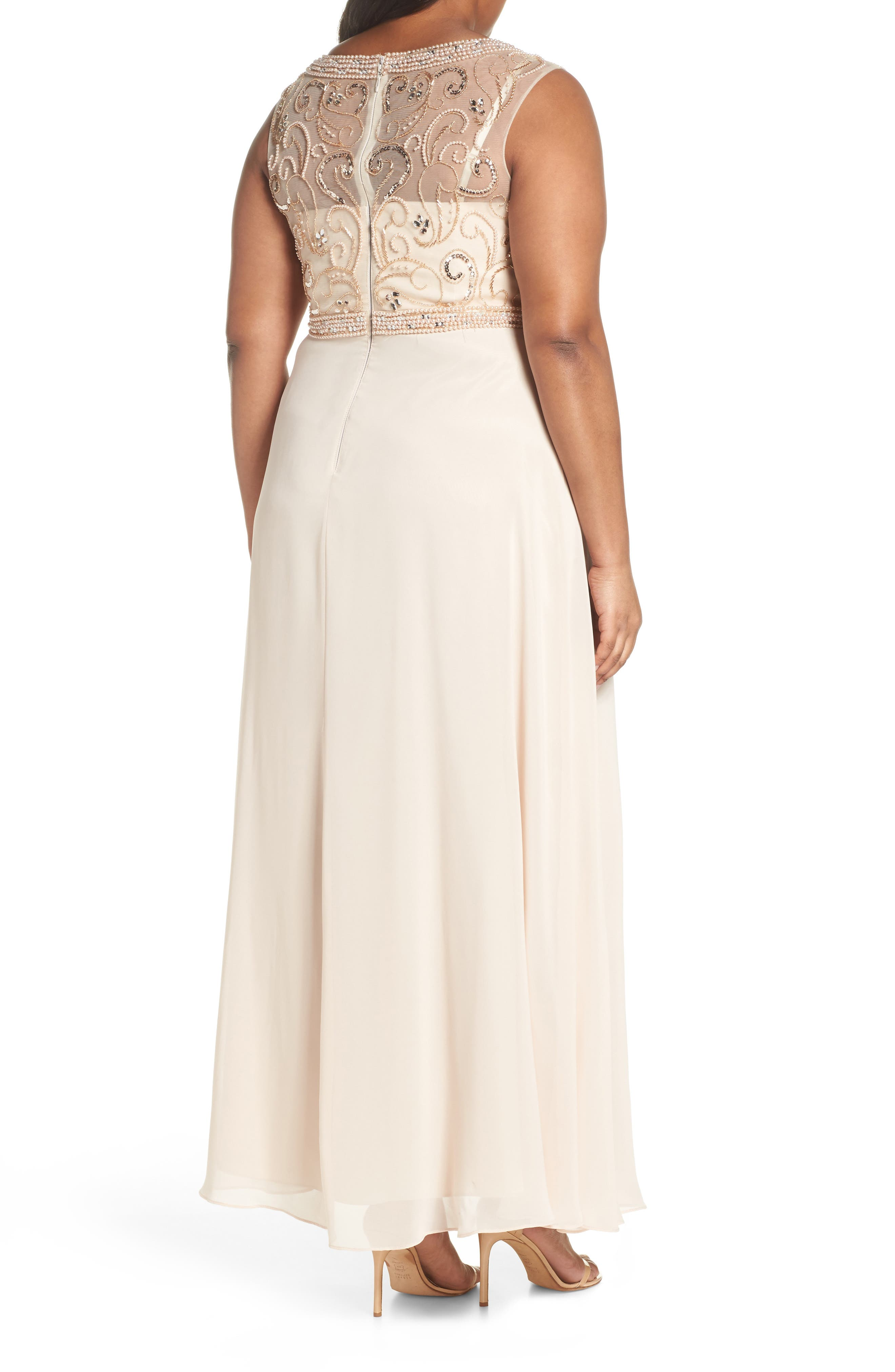 Sleeveless Beaded Gown,                             Alternate thumbnail 2, color,                             Champagne