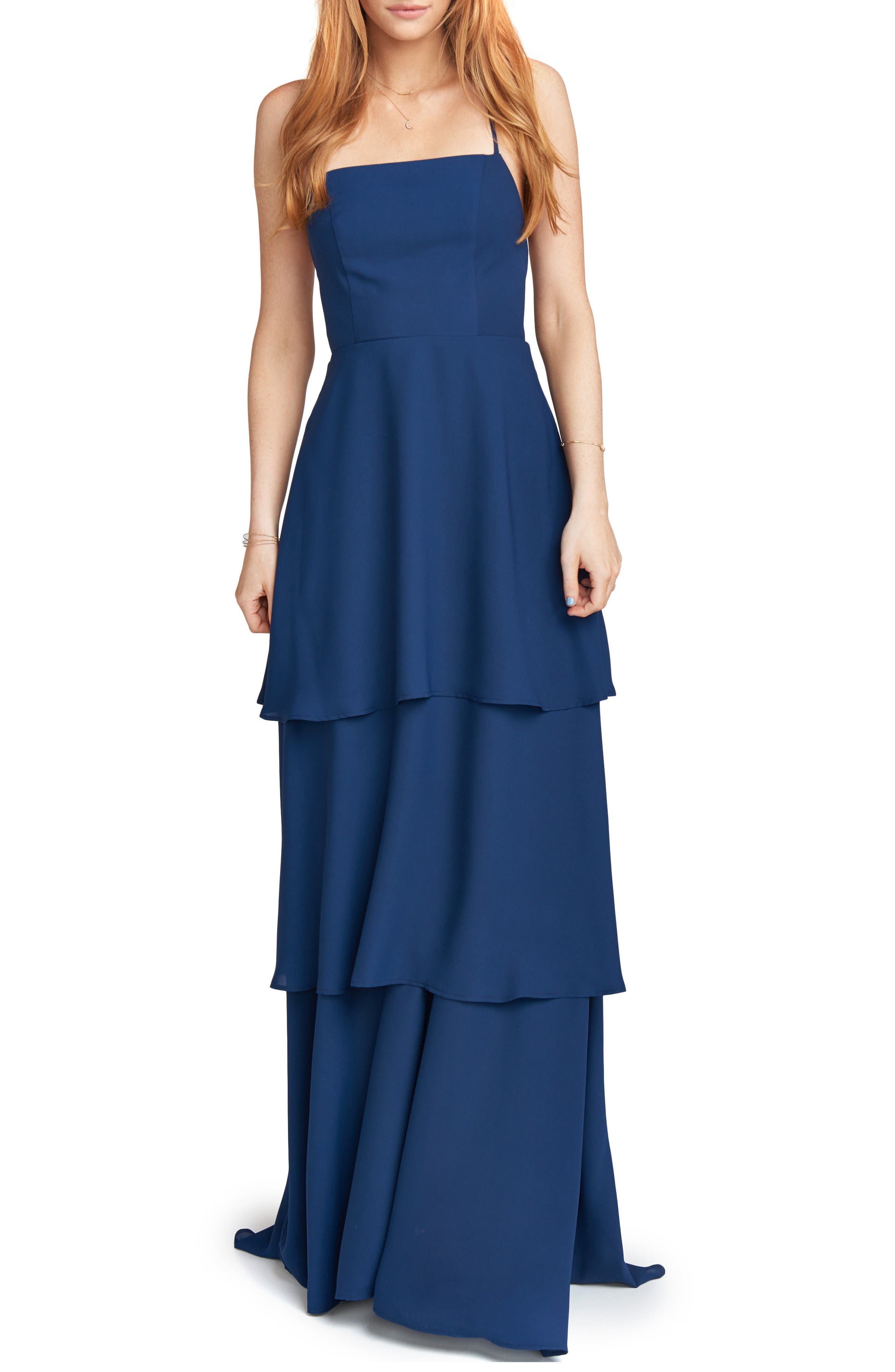 Calypso Strappy Tiered Maxi Dress,                         Main,                         color, Rich Navy