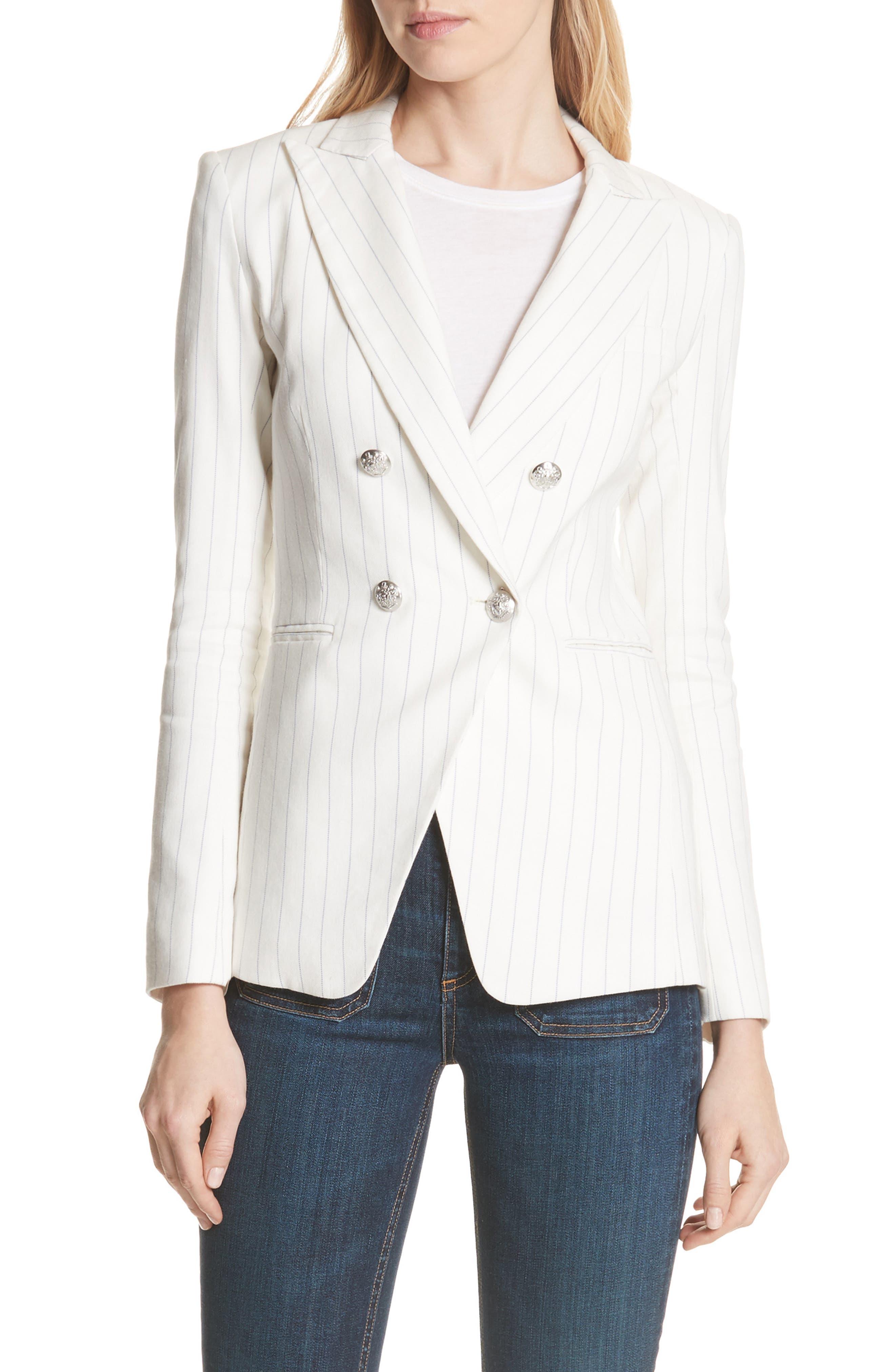 Apollo Pinstripe Jacket,                             Main thumbnail 1, color,                             Off White/ Blue Stripe