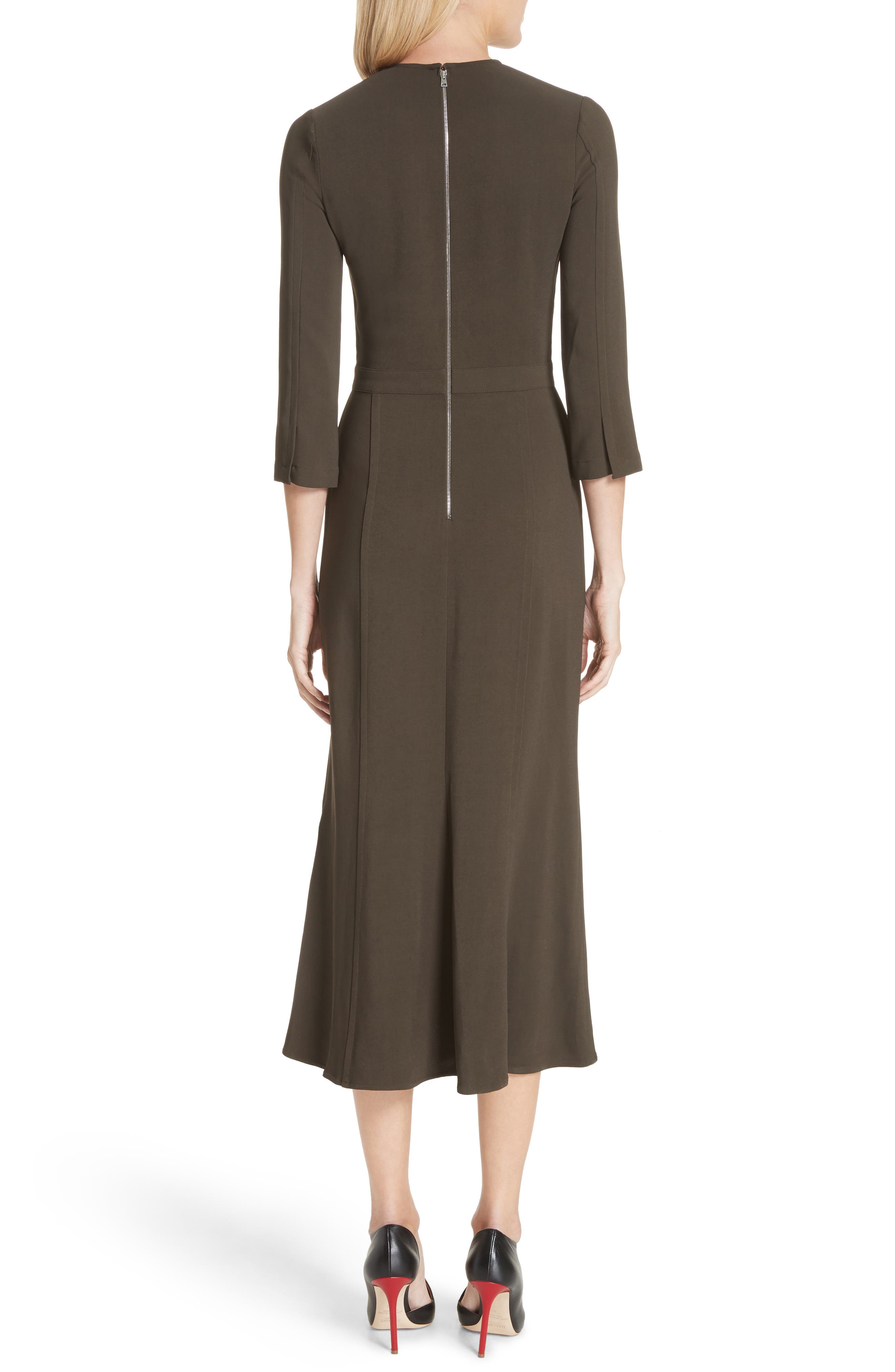 Paneled Cady Midi Dress,                             Alternate thumbnail 2, color,                             Khaki Green