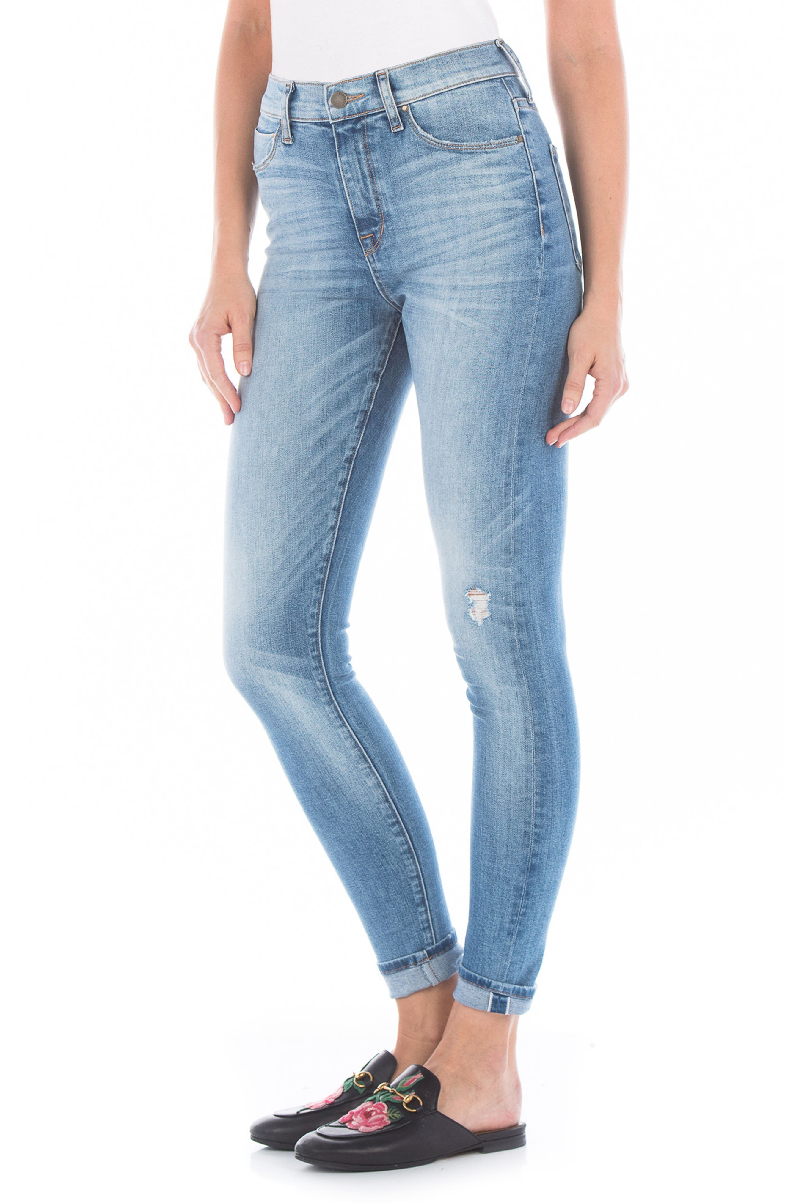 Gwen High Waist Skinny Jeans,                             Alternate thumbnail 3, color,                             76 Summer