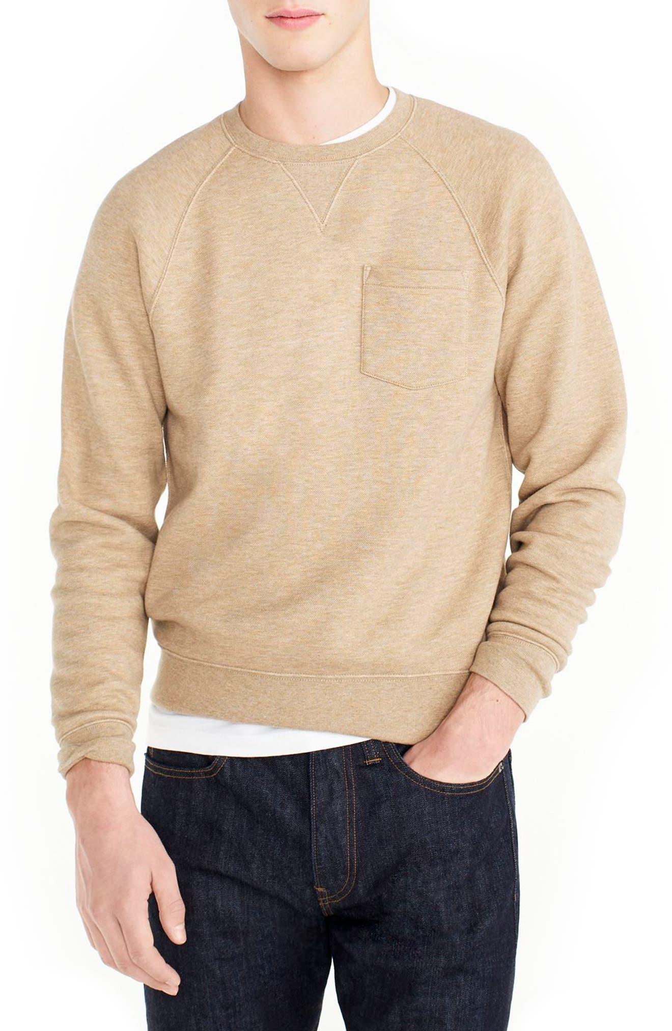 J.Crew Textured Piqué Fleece Sweatshirt,                         Main,                         color, Heather Nut