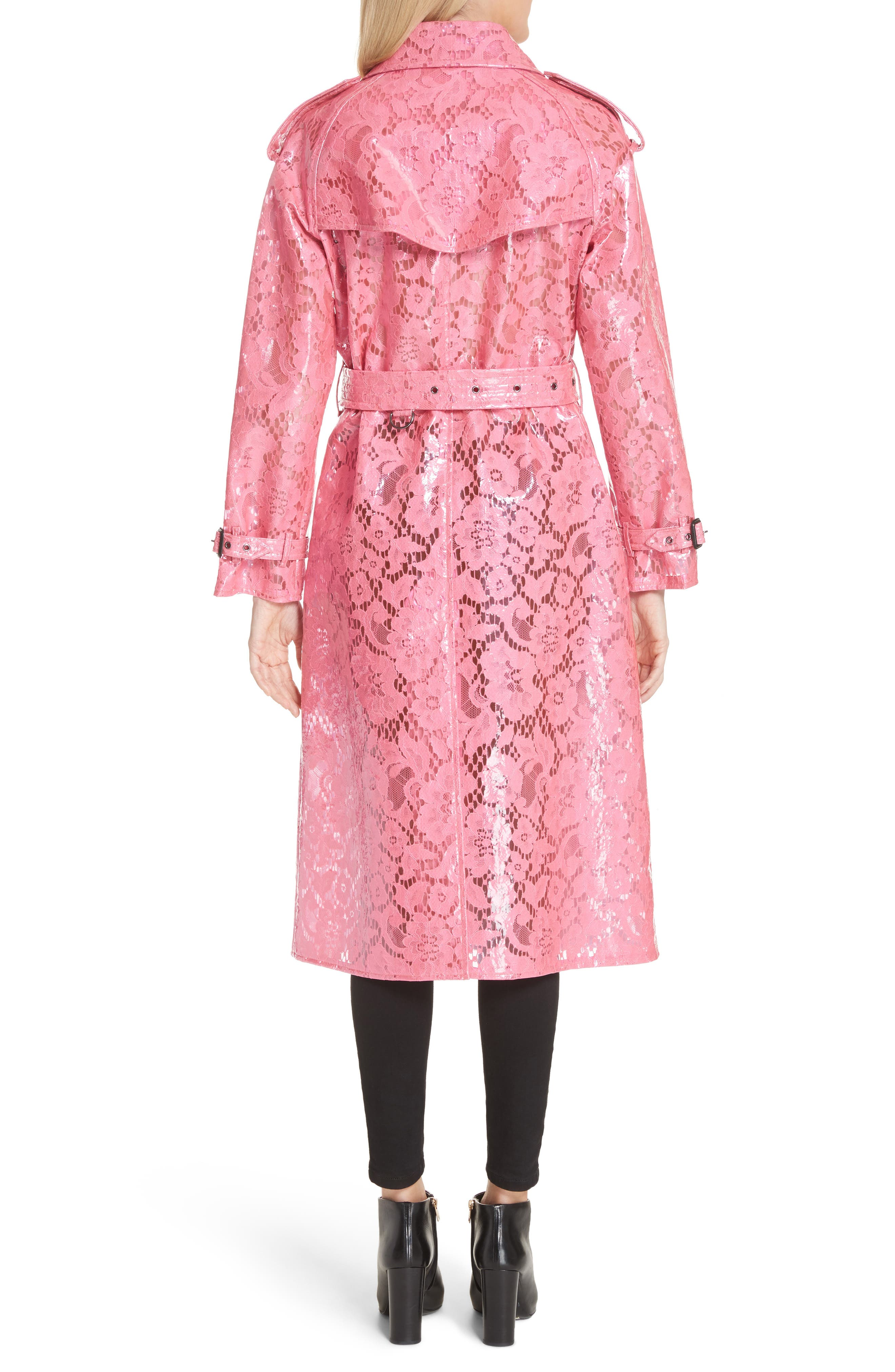 Eastheath Coated Lace Trench Coat,                             Alternate thumbnail 2, color,                             Bright Pink