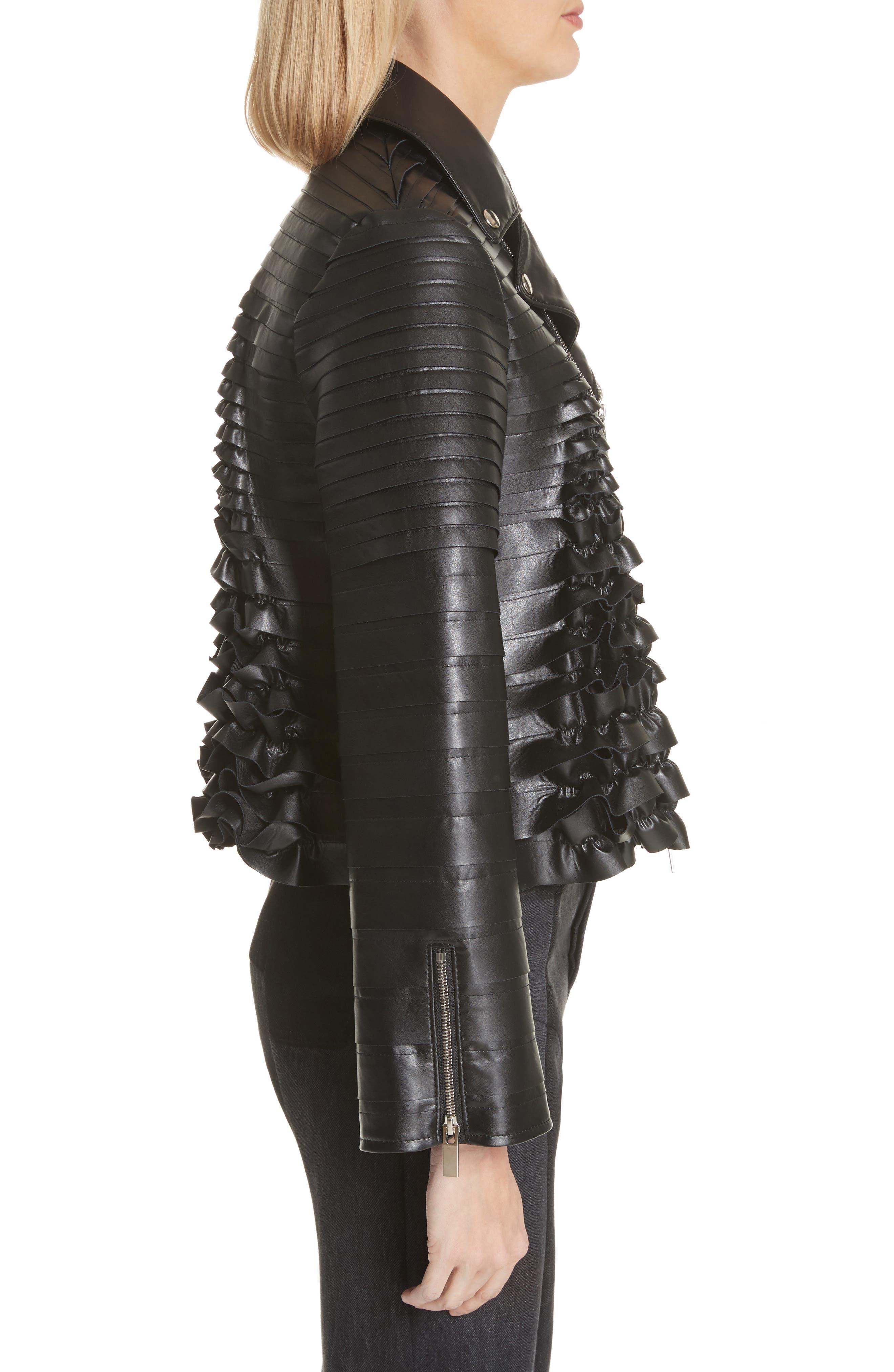Ribbon Faux Leather Jacket,                             Alternate thumbnail 3, color,                             Black