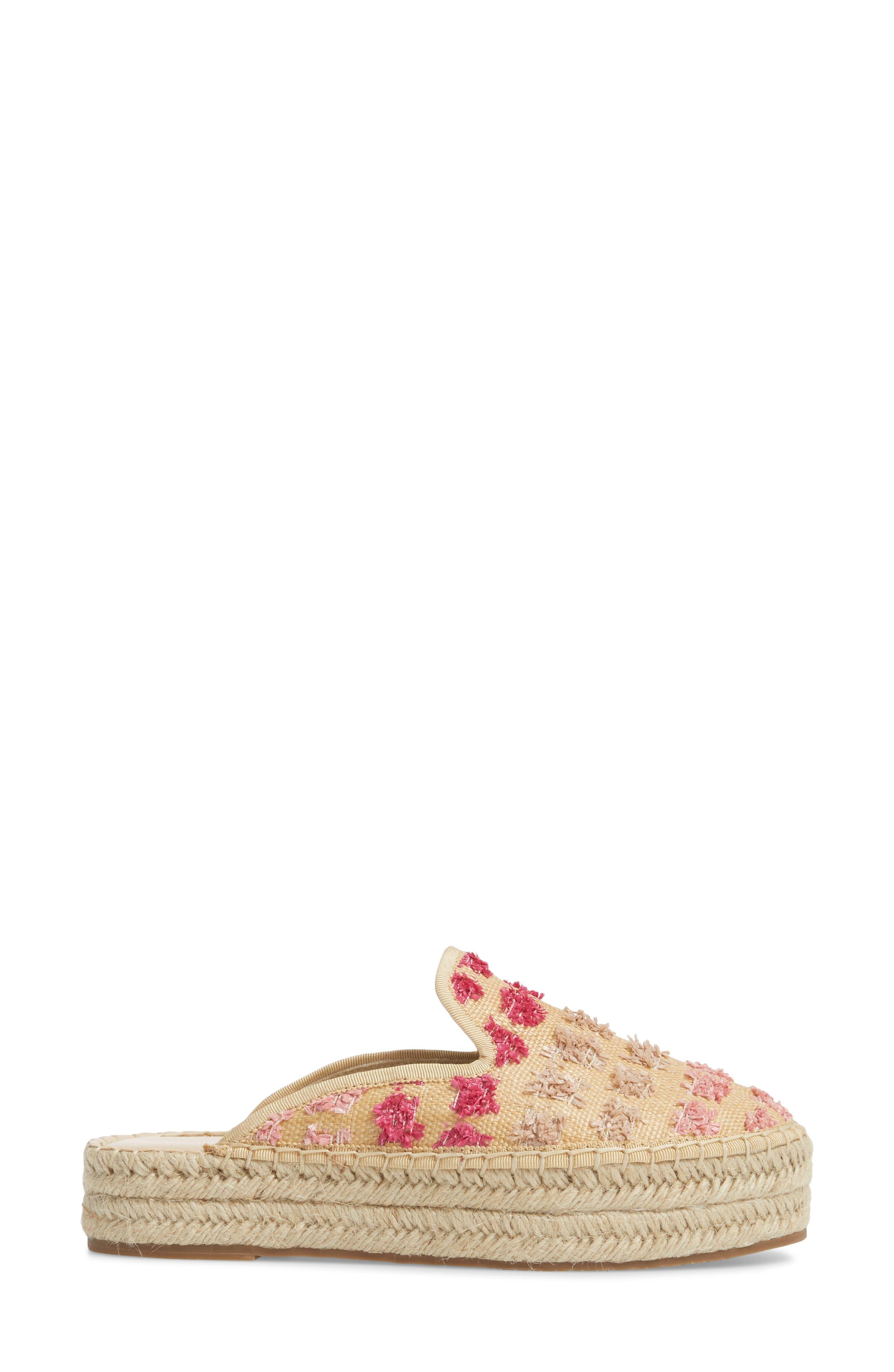 Marlowe Tufted Espadrille Loafer Mule,                             Alternate thumbnail 3, color,                             Pink Multi Faux Raffia