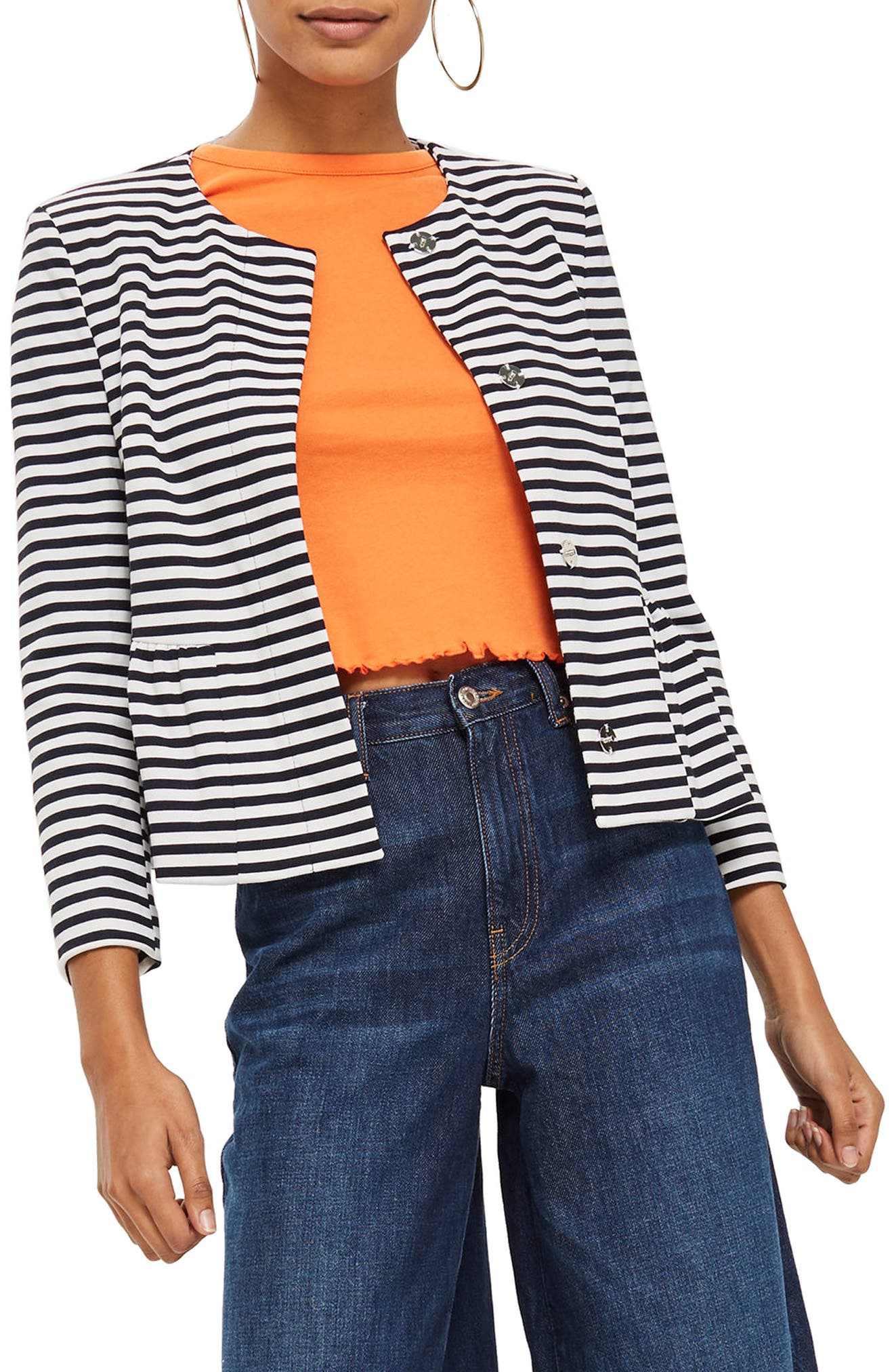 Stripe Crop Jersey Jacket,                             Main thumbnail 1, color,                             Navy Blue Multi
