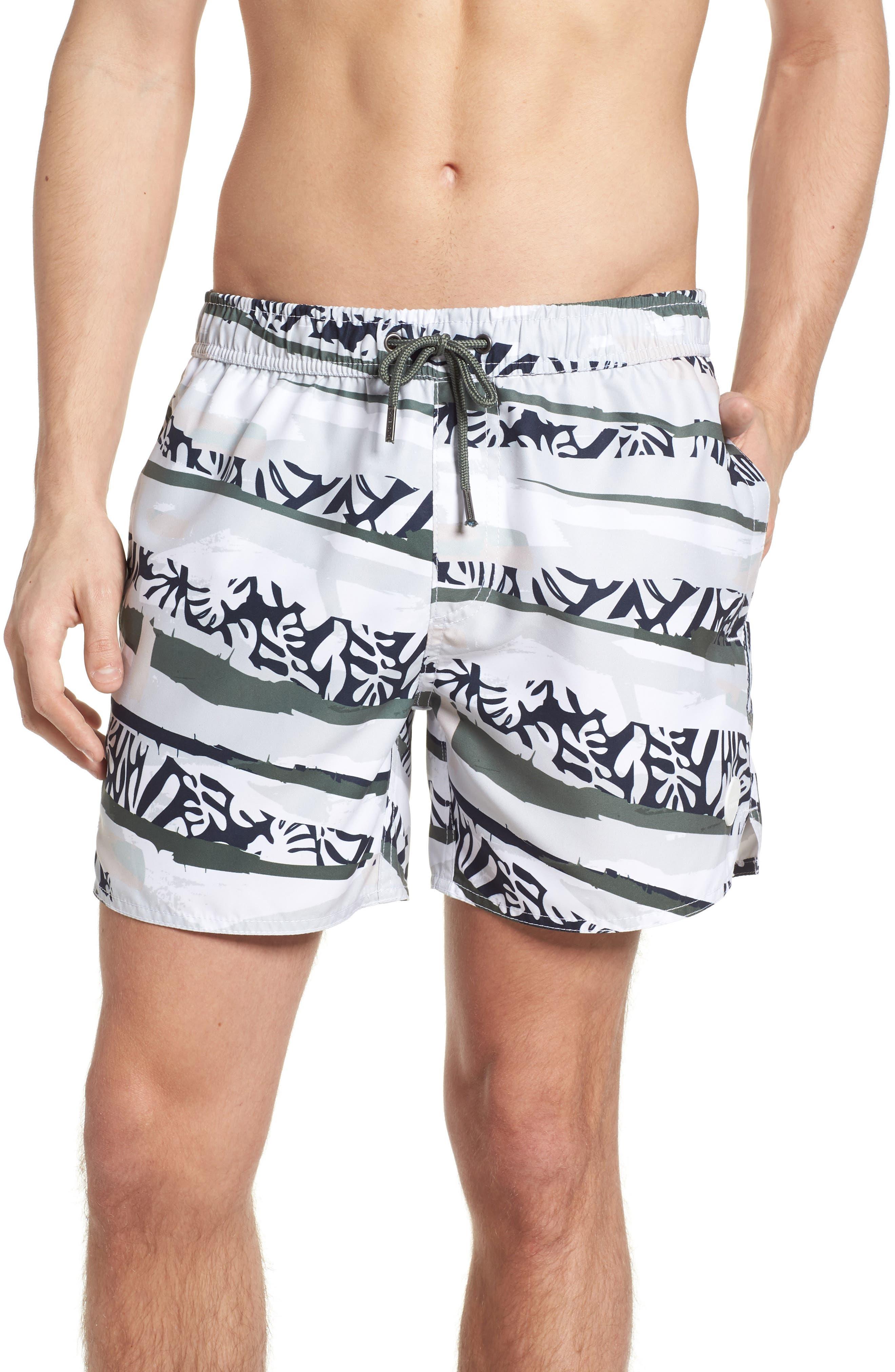 Tropi Camo Swim Trunks,                         Main,                         color, Grey