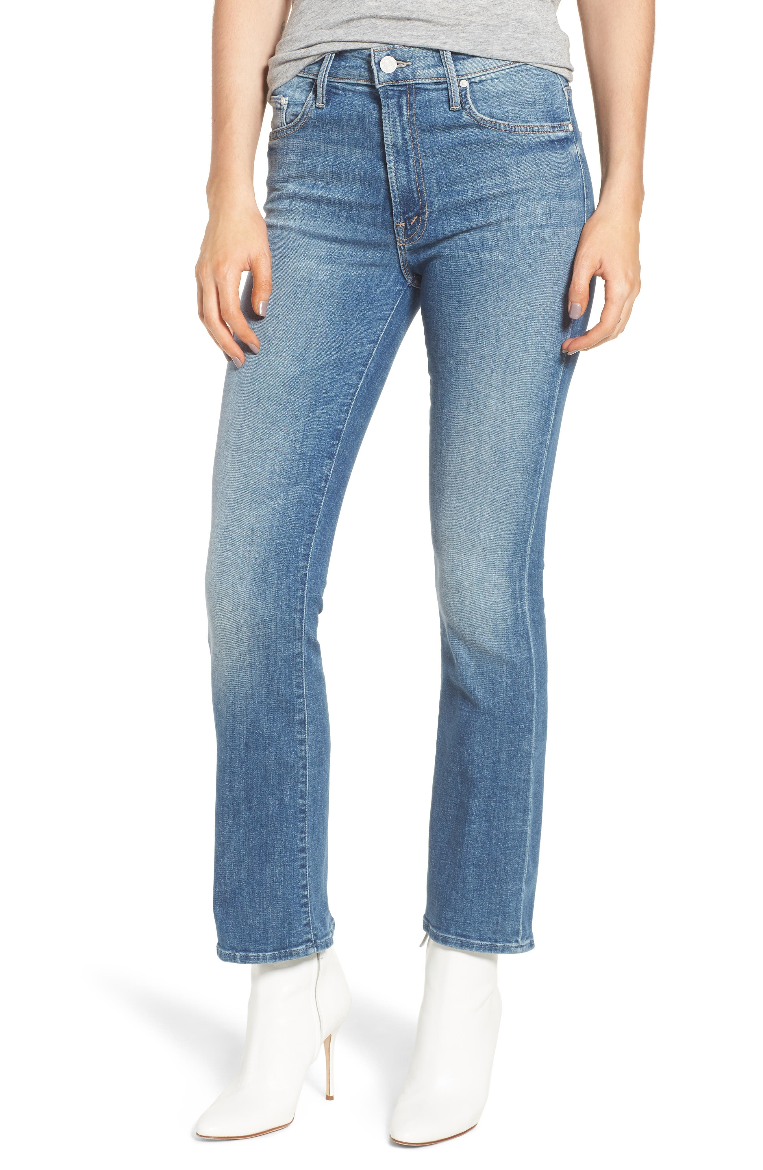 MOTHER The Insider High Waist Ankle Bootcut Jeans (One Smart Cookie)