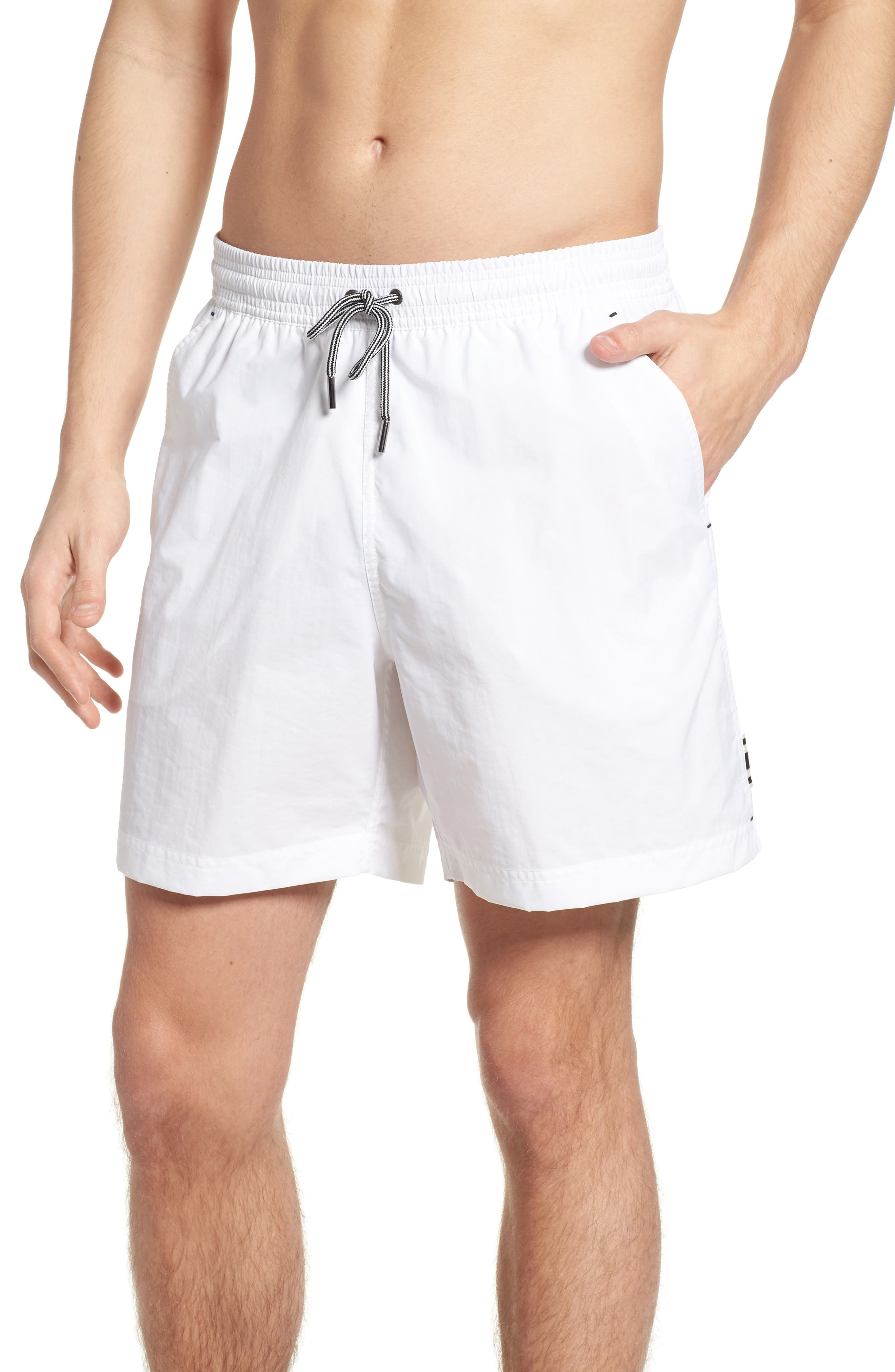 Solid Swim Trunks,                             Main thumbnail 1, color,                             White