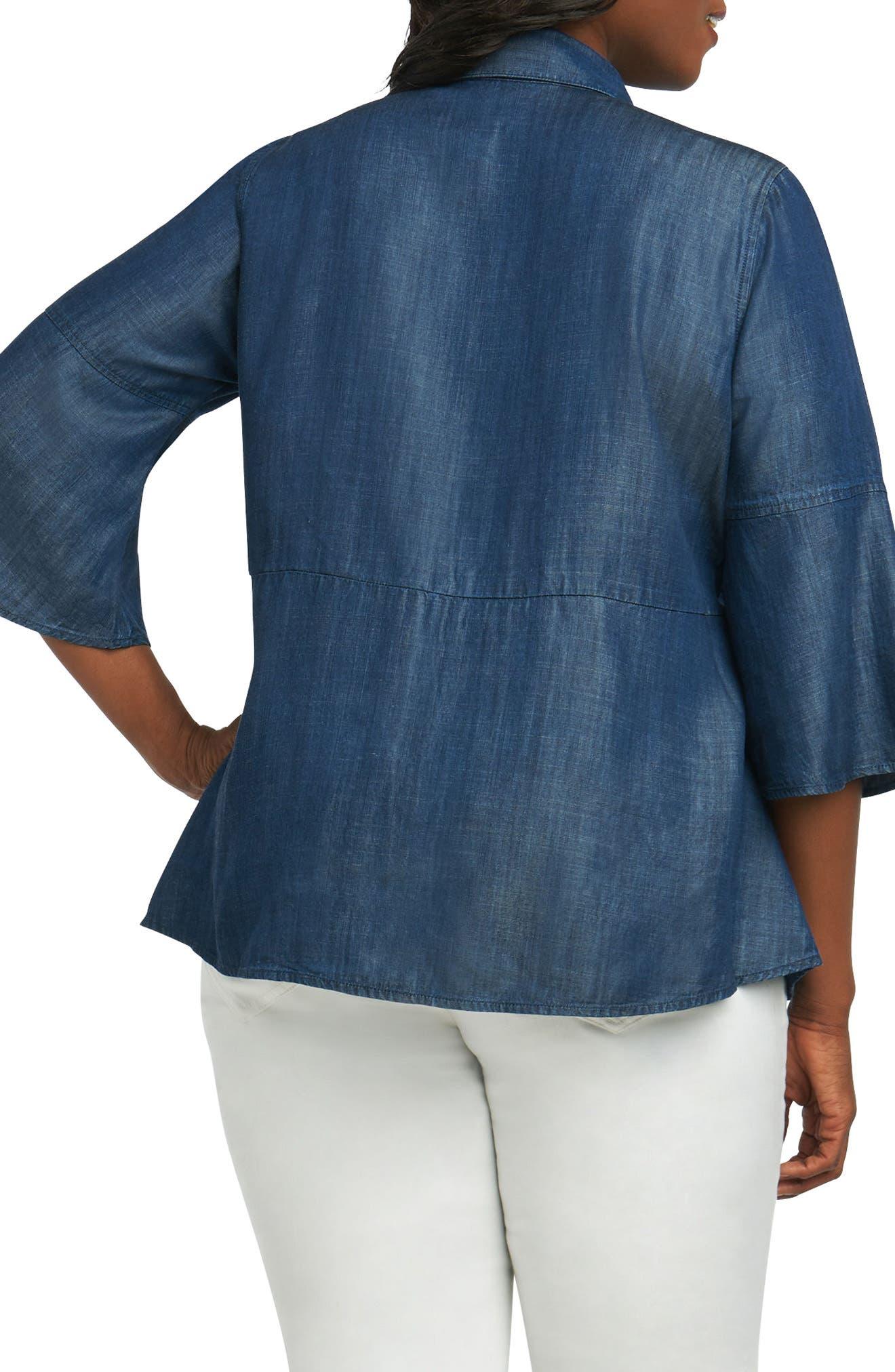 Estelle Chambray Shirt,                             Alternate thumbnail 2, color,                             Navy