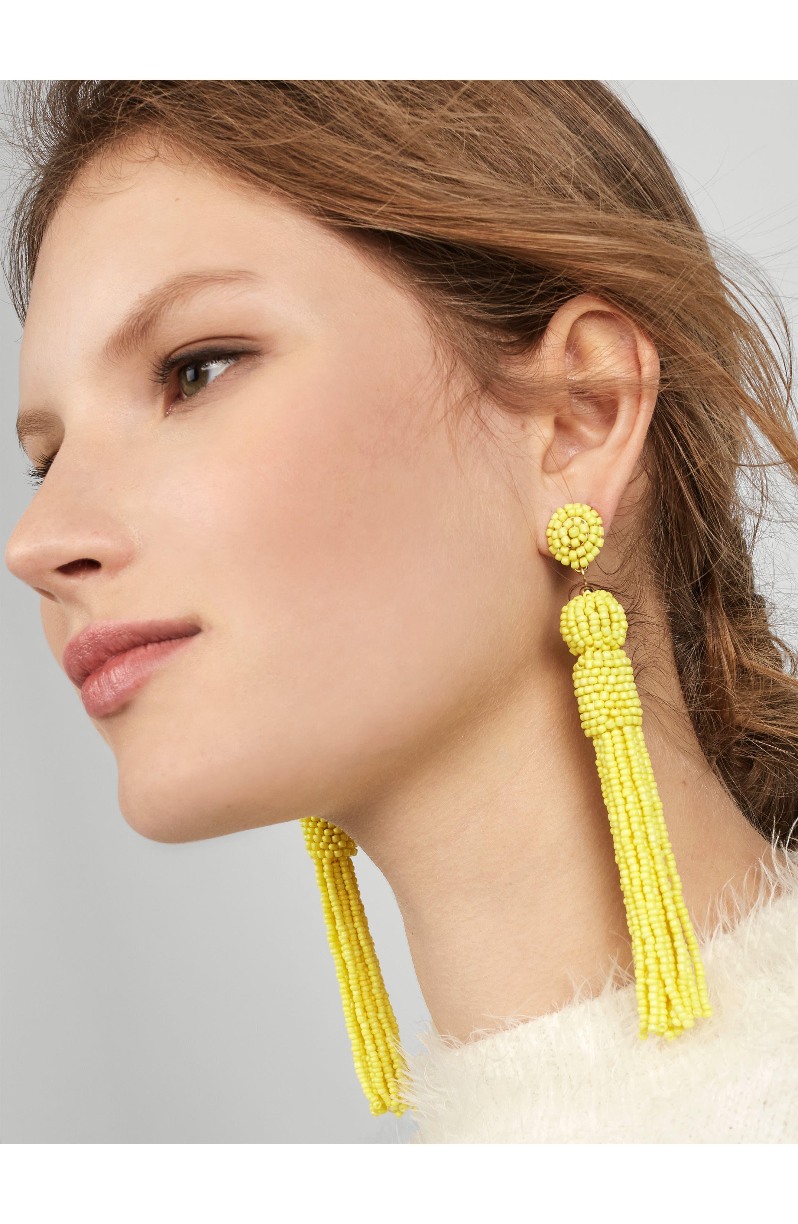 Mariachi Beaded Tassel Earrings,                             Alternate thumbnail 2, color,                             Neon Yellow