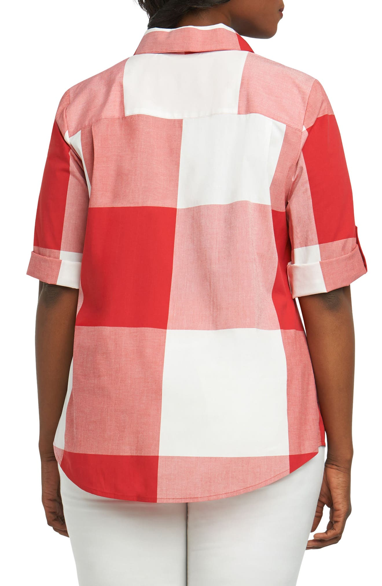 Reese Gingham Shirt,                             Alternate thumbnail 2, color,                             Regatta Red