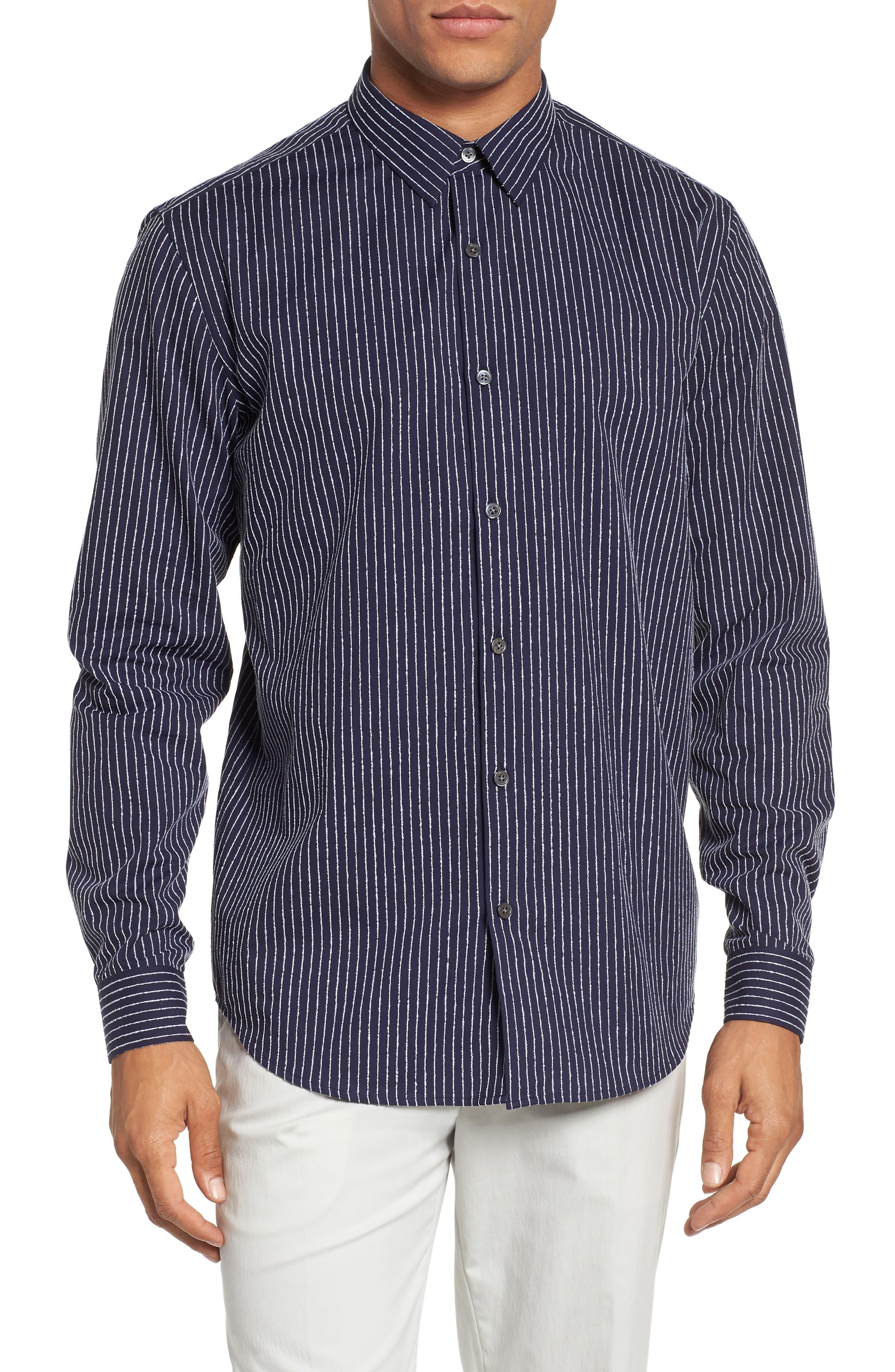 Irving Chenille Stripe Sport Shirt,                             Main thumbnail 1, color,                             Eclipse Stripe