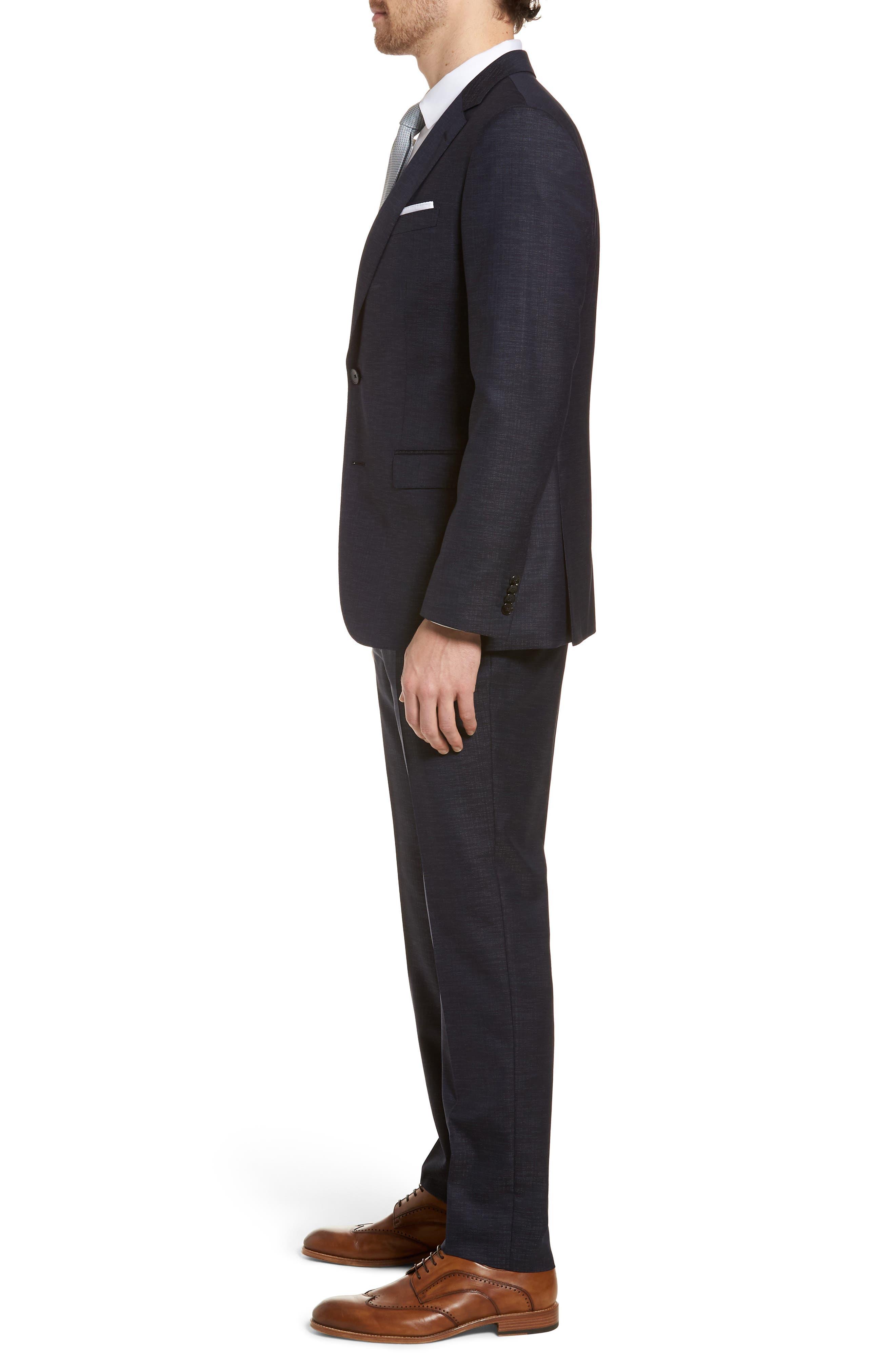 Novan/Ben Trim Fit Solid Wool Blend Suit,                             Alternate thumbnail 3, color,                             Navy