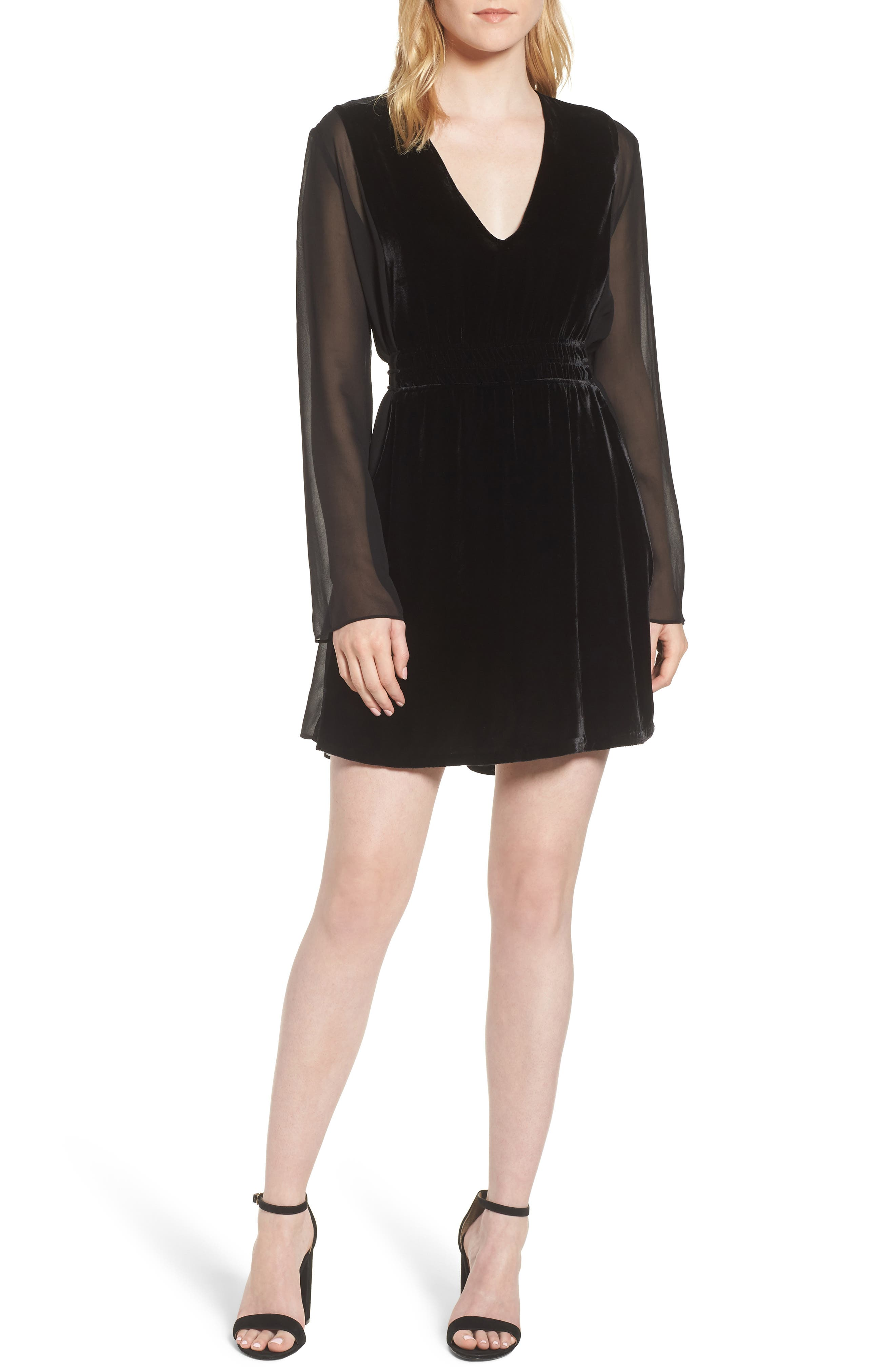 Her Story Velvet Dress,                             Main thumbnail 1, color,                             Black