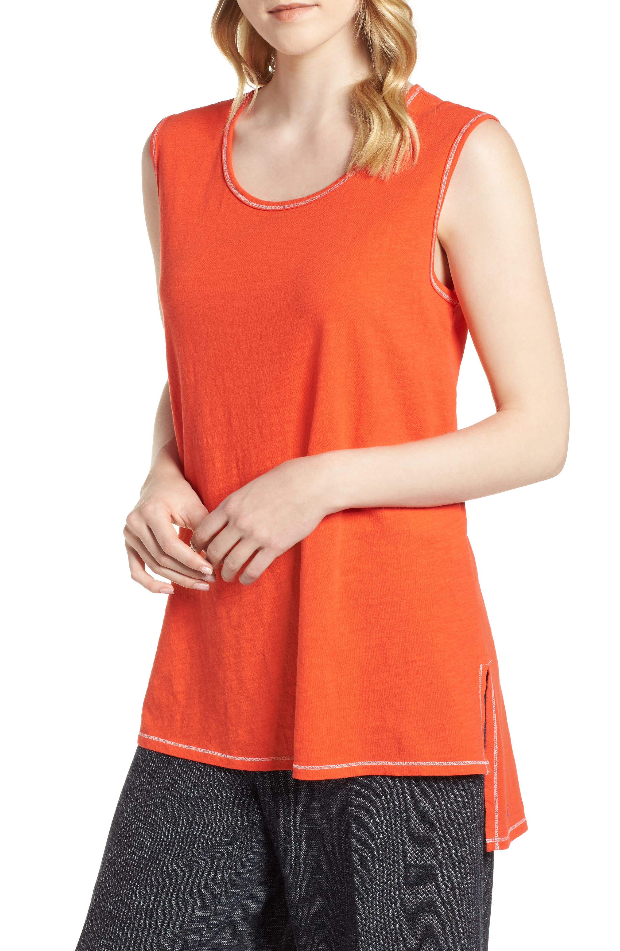 Organic Cotton Tunic,                         Main,                         color, Hot Red