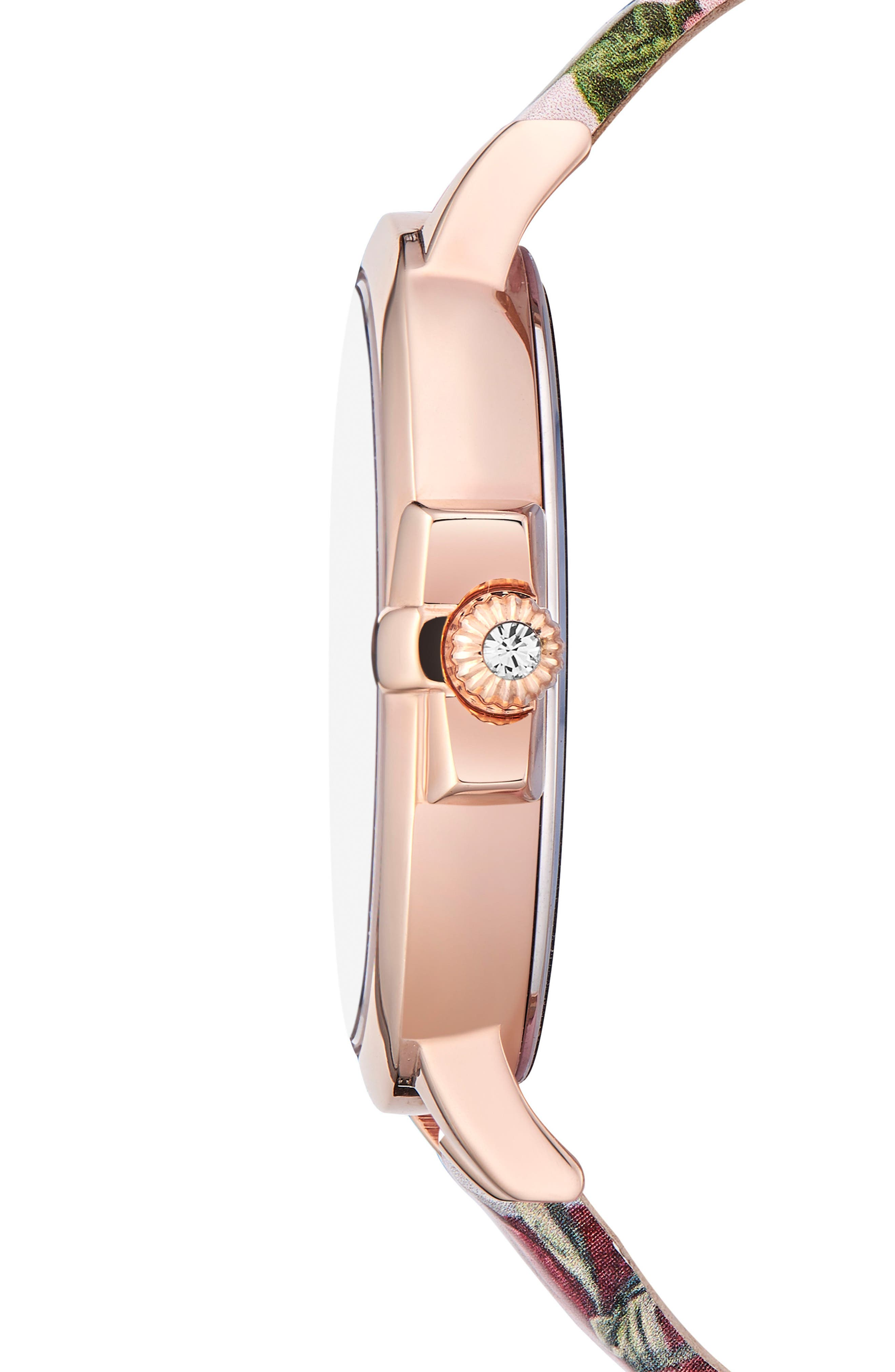 Leather Strap Watch, 36mm,                             Alternate thumbnail 3, color,                             Printed/ Silver/ Rose Gold