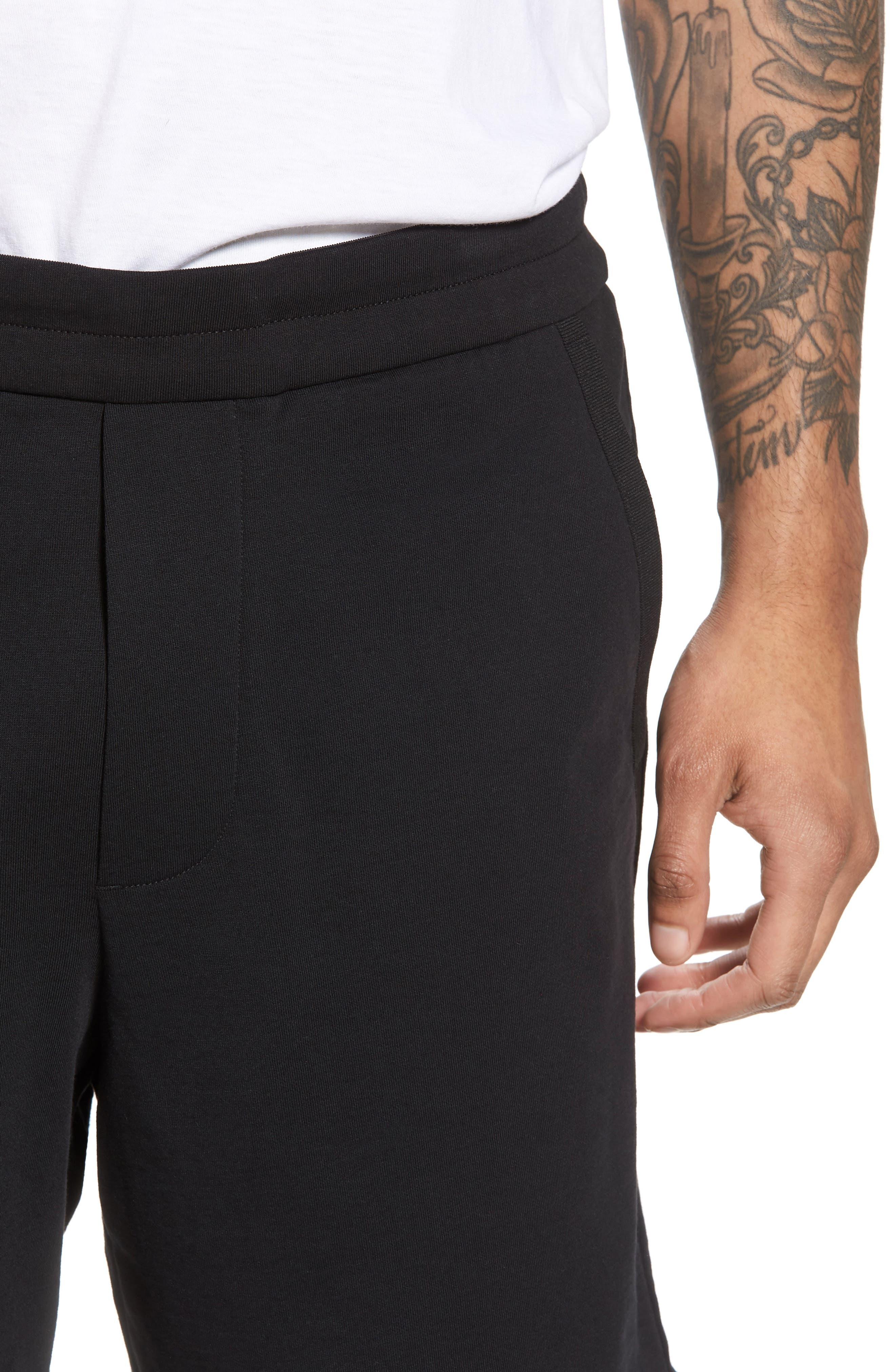 Taped Slim Fit Track Shorts,                             Alternate thumbnail 4, color,                             Black/ Black