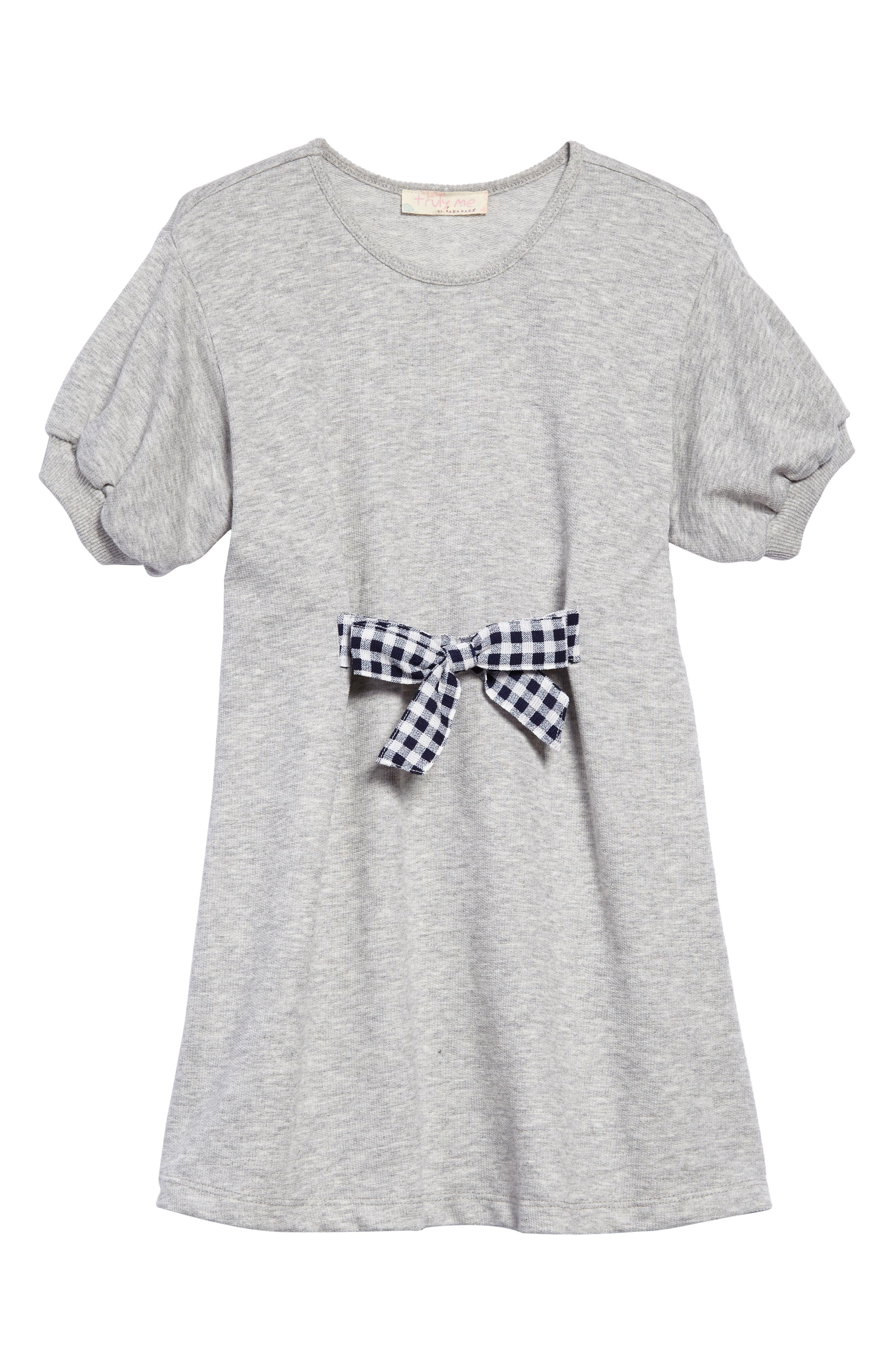 Tie Front Gingham Bow Dress,                             Main thumbnail 1, color,                             Heather Grey