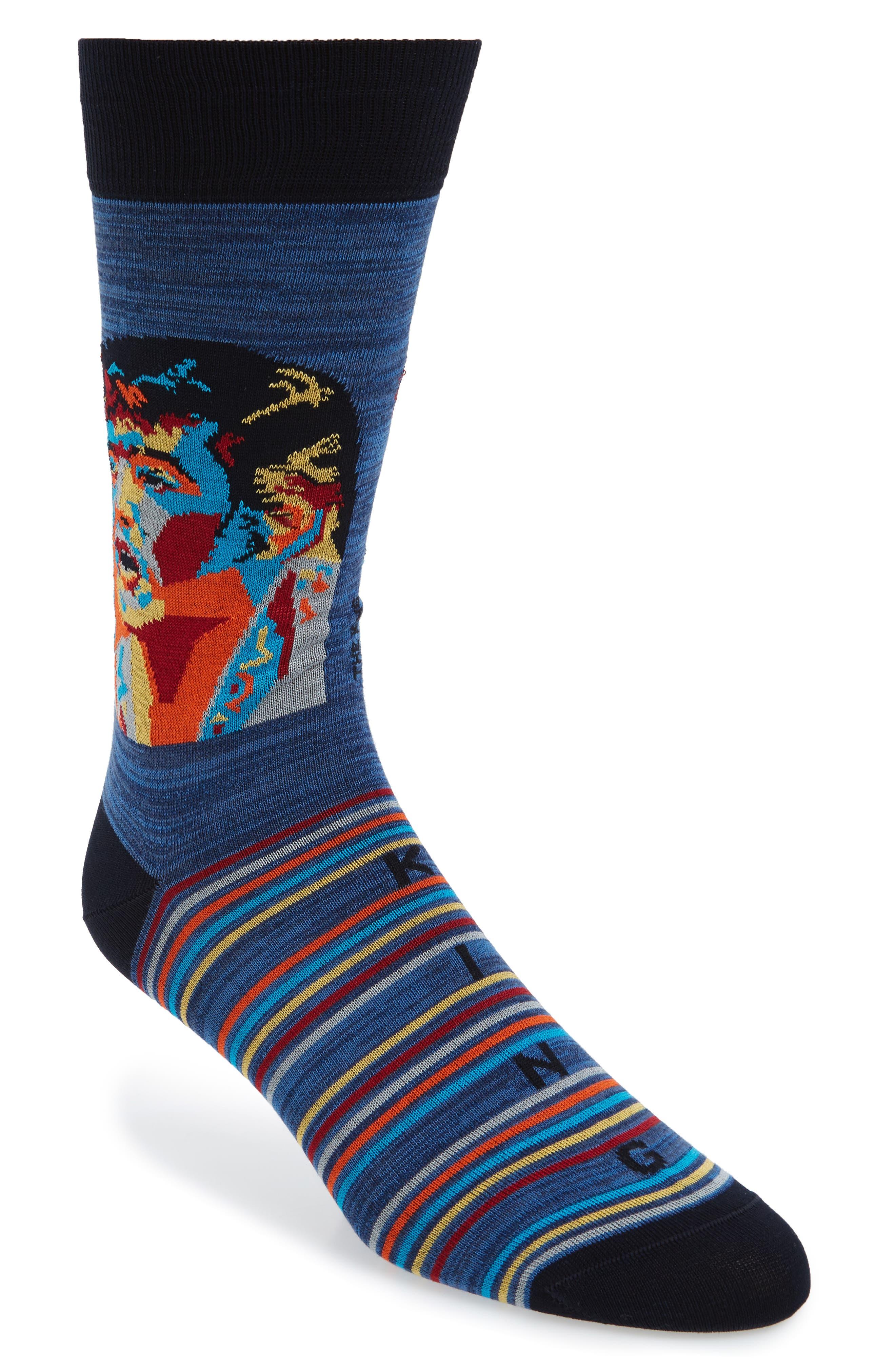 Stripe Mercerized Cotton Blend Socks,                             Main thumbnail 1, color,                             Night Blue