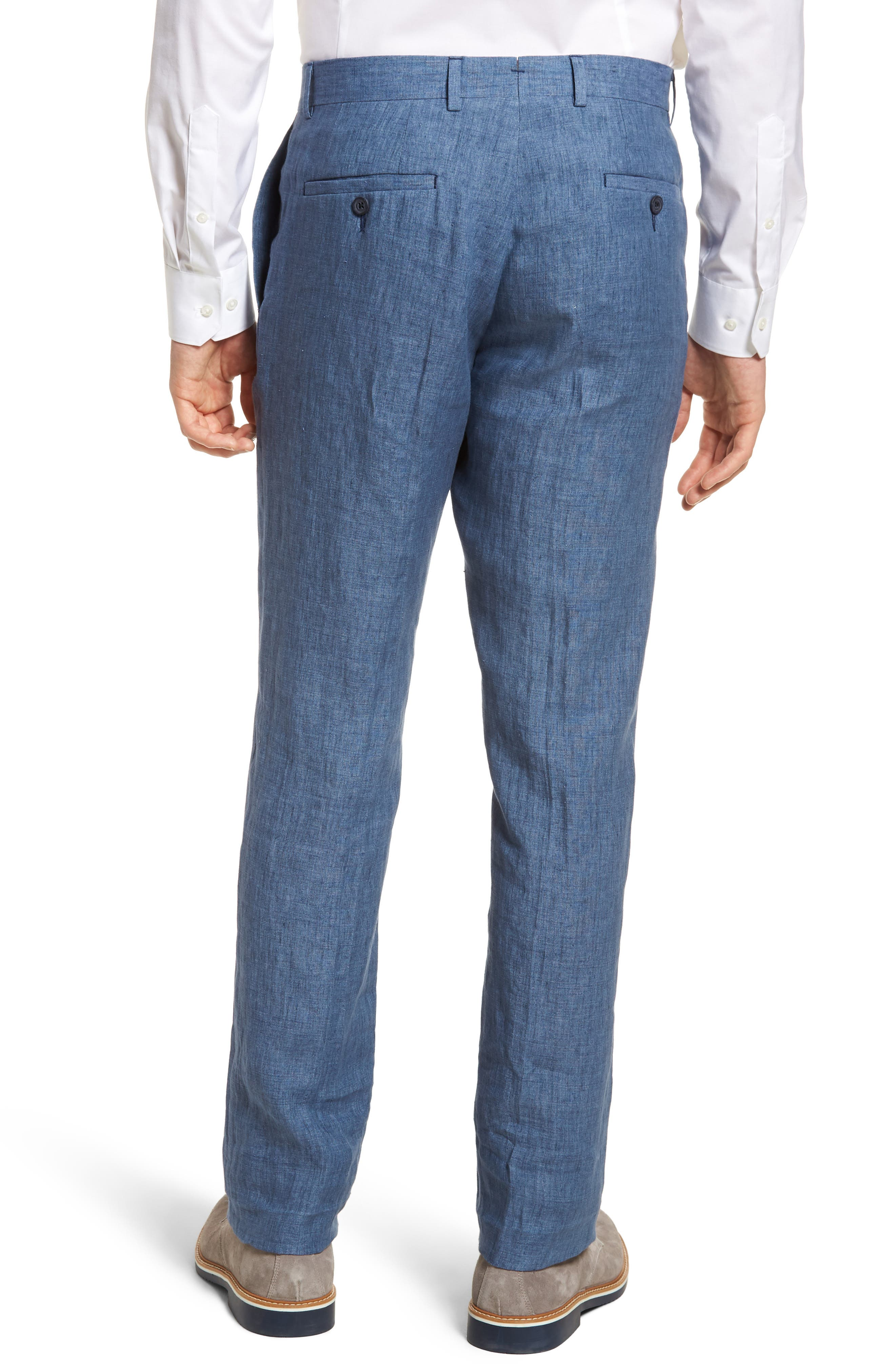 Flat Front Solid Linen Trousers,                             Alternate thumbnail 2, color,                             Blue Denim