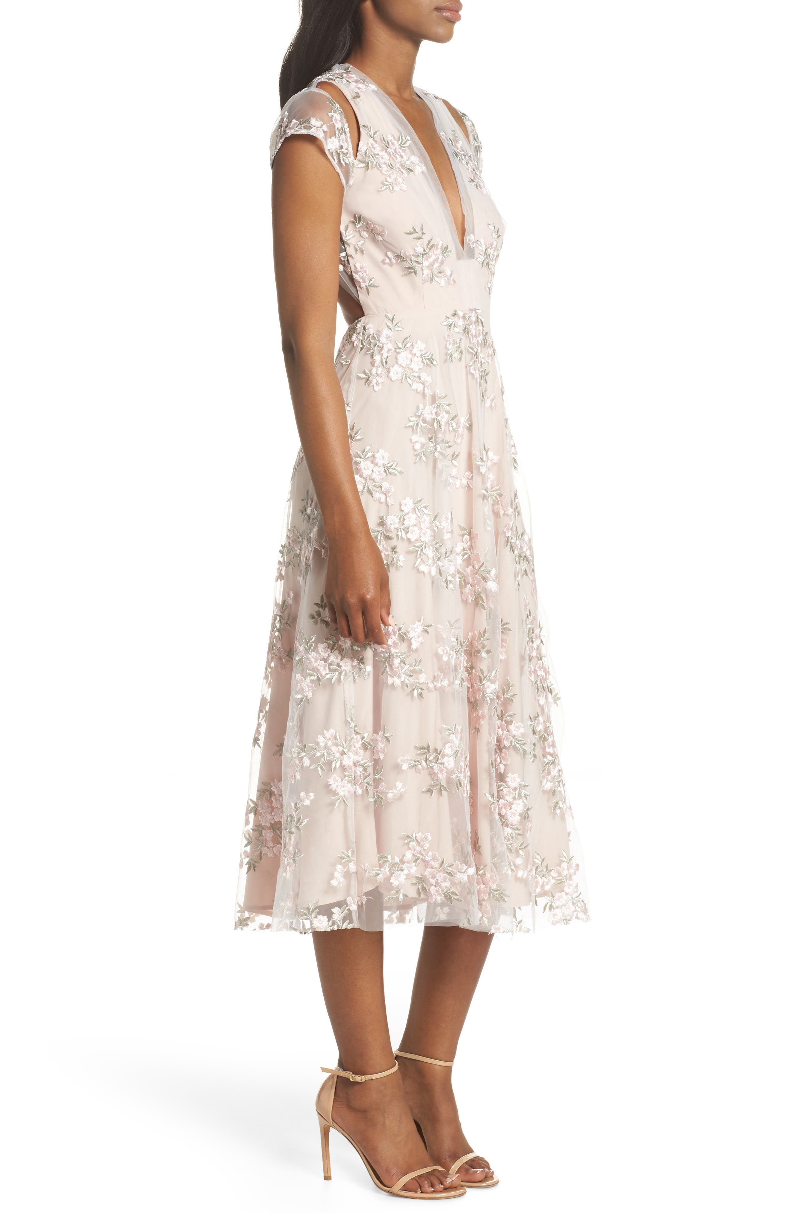 Rosalie Embroidered Midi Dress,                             Alternate thumbnail 3, color,                             Ivory/ Pink