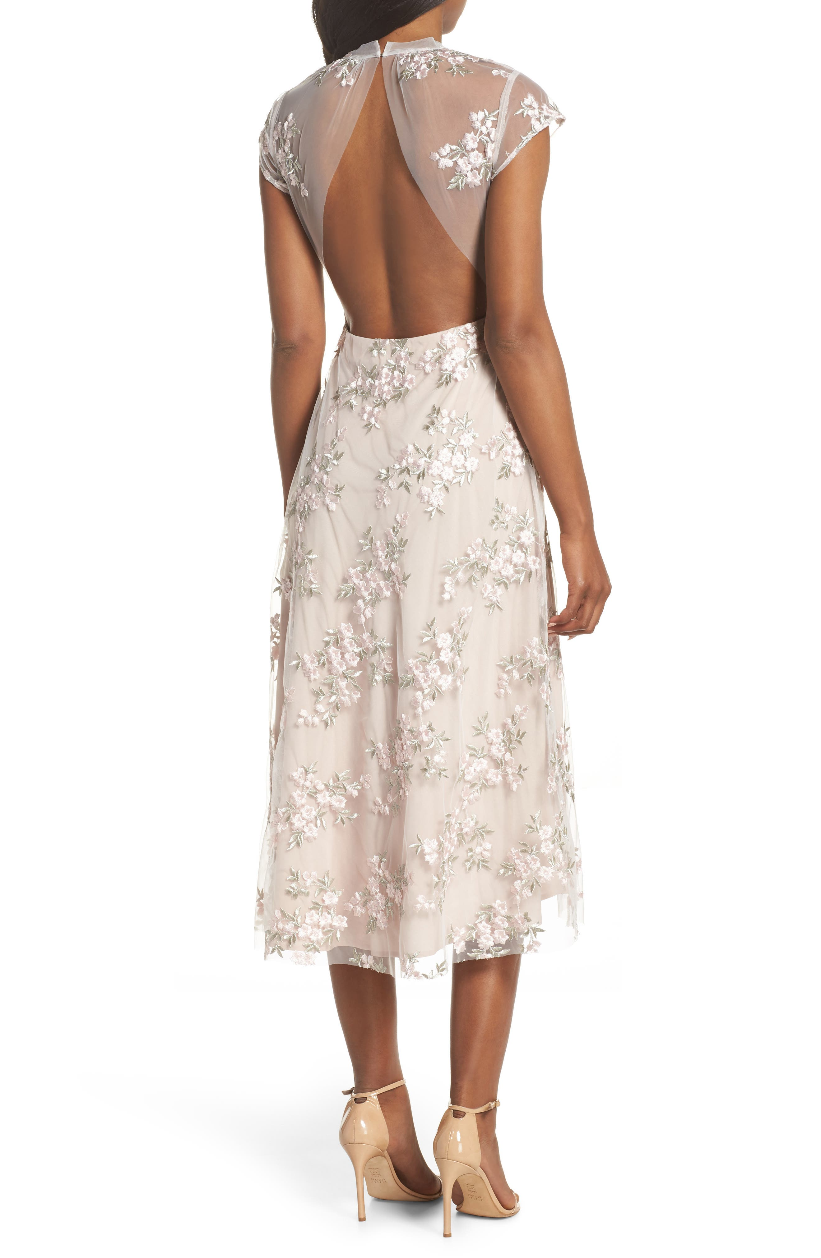 Rosalie Embroidered Midi Dress,                             Alternate thumbnail 2, color,                             Ivory/ Pink