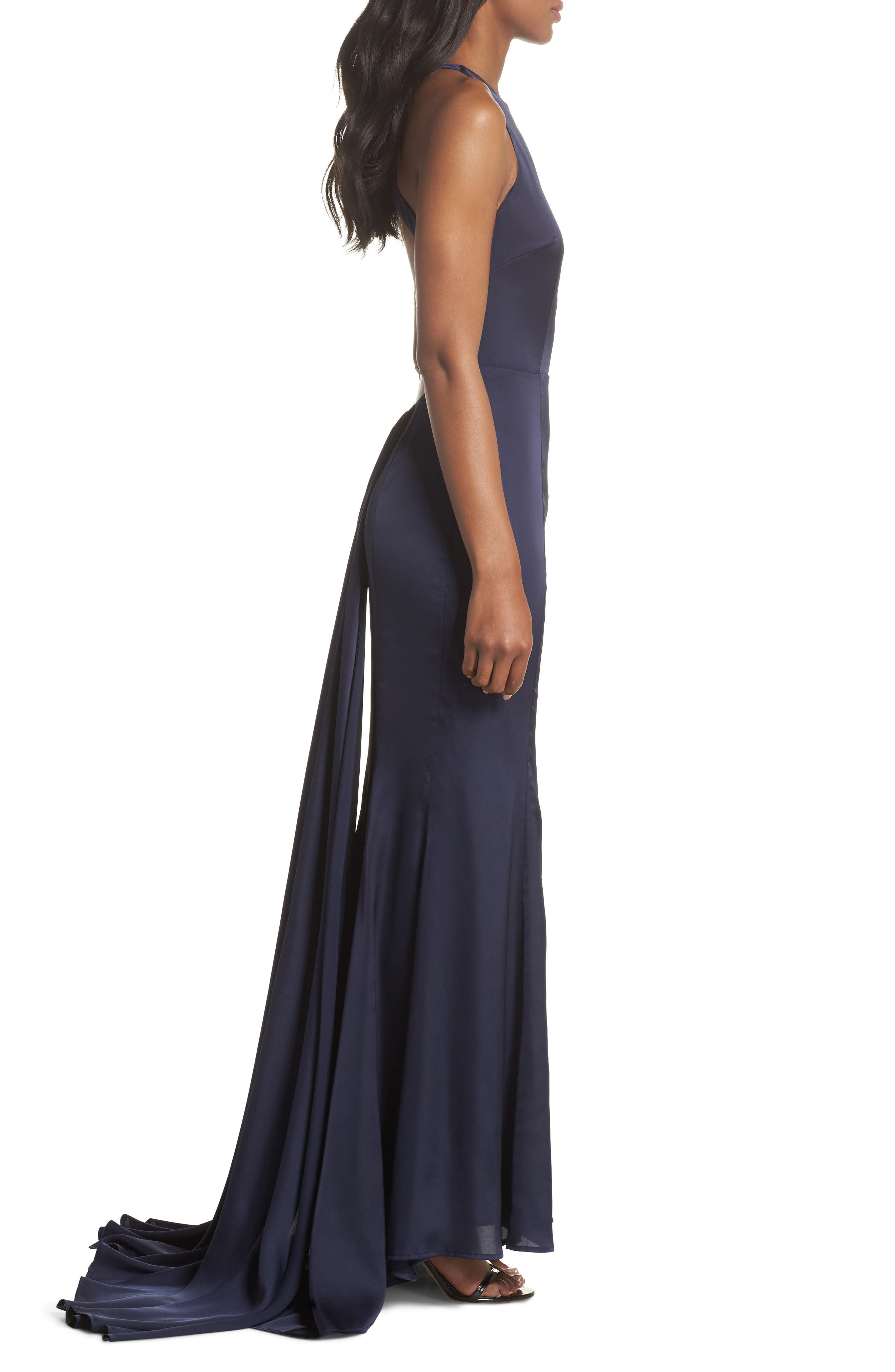Blanche Open Back Gown,                             Alternate thumbnail 3, color,                             Navy