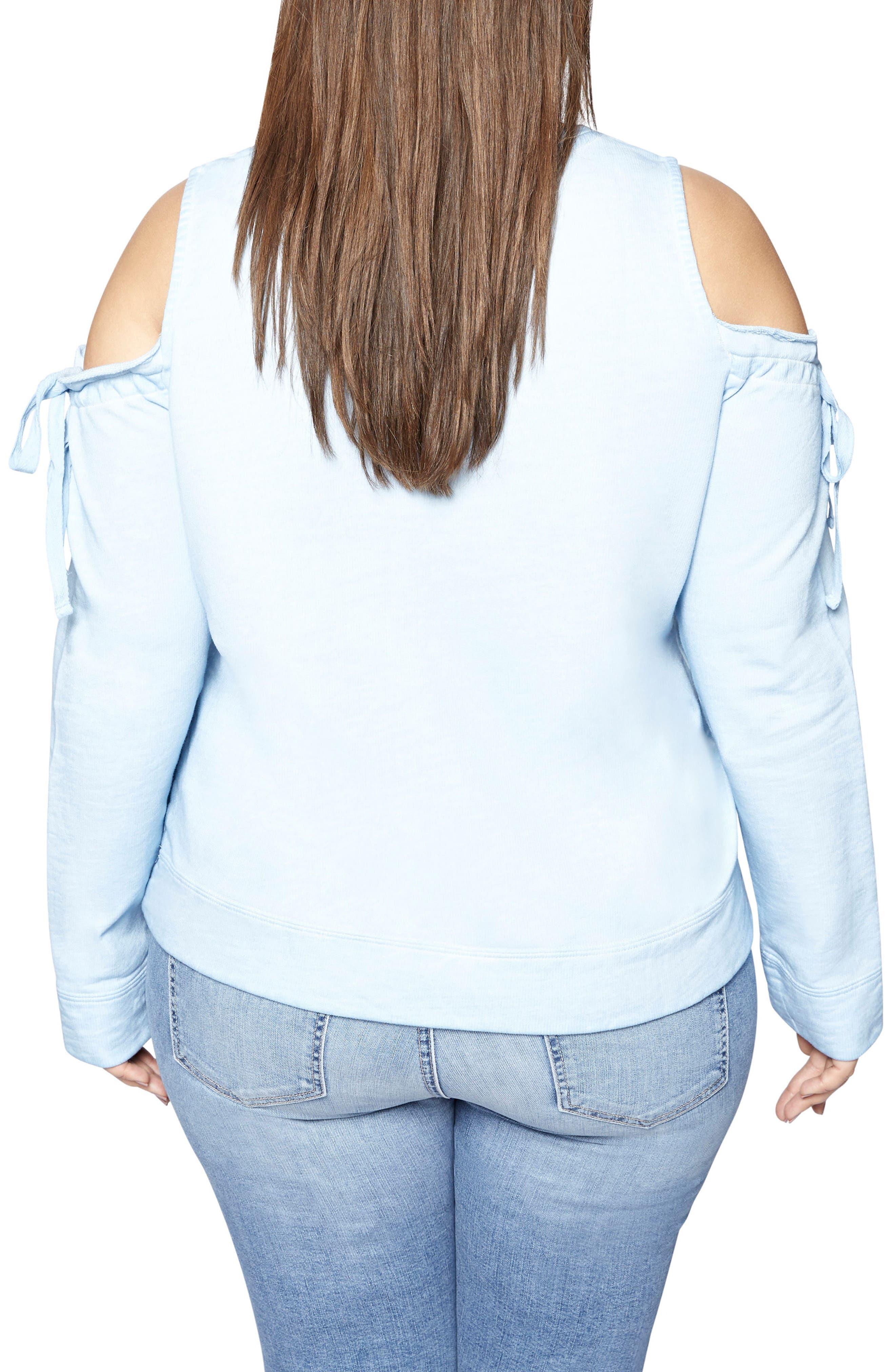 Alternate Image 2  - Sanctuary Parkside Cold Shoulder Sweatshirt (Plus Size)
