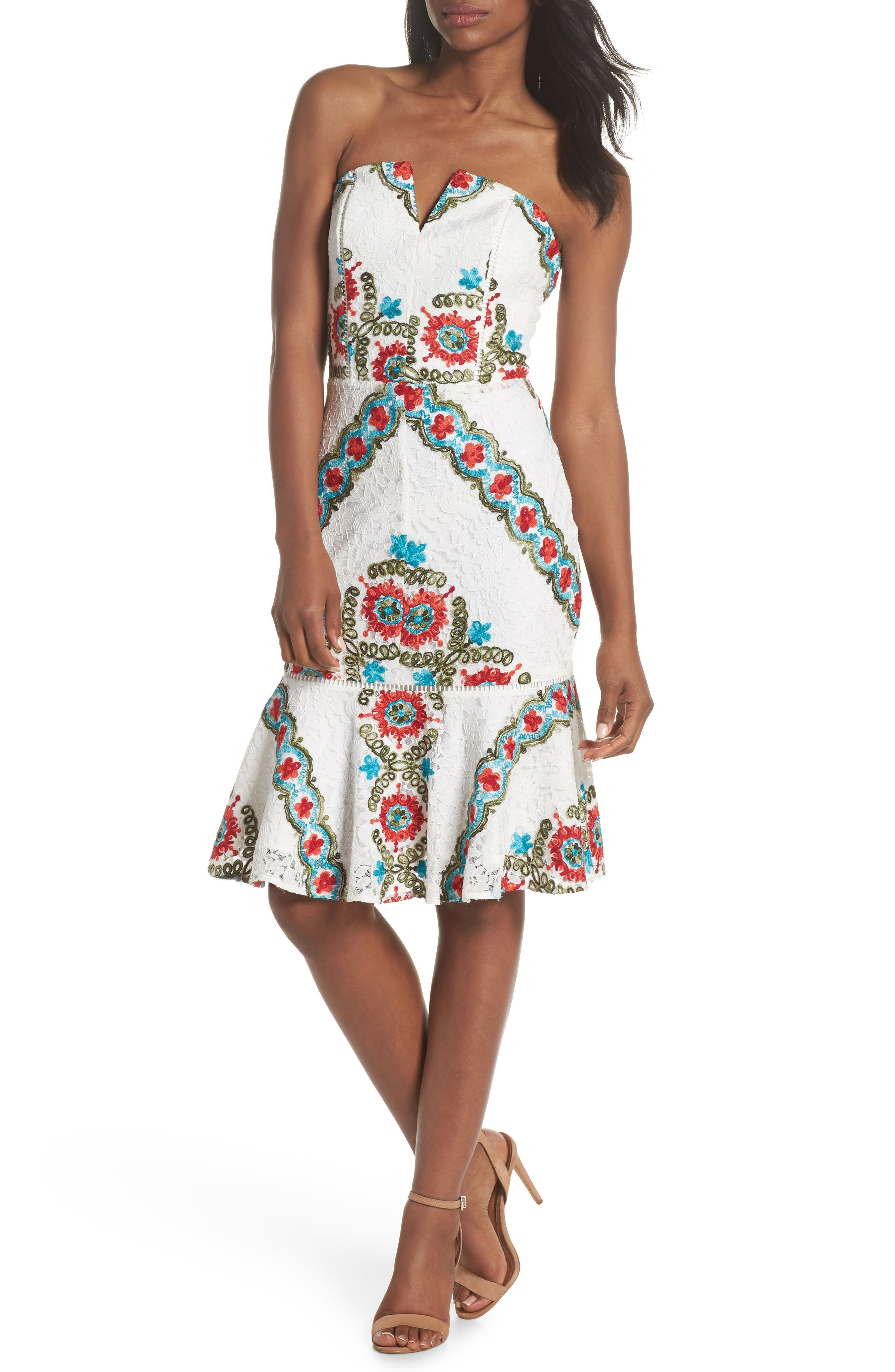 Adelyn Rae Hailey Embroidered Strapless Lace Dress