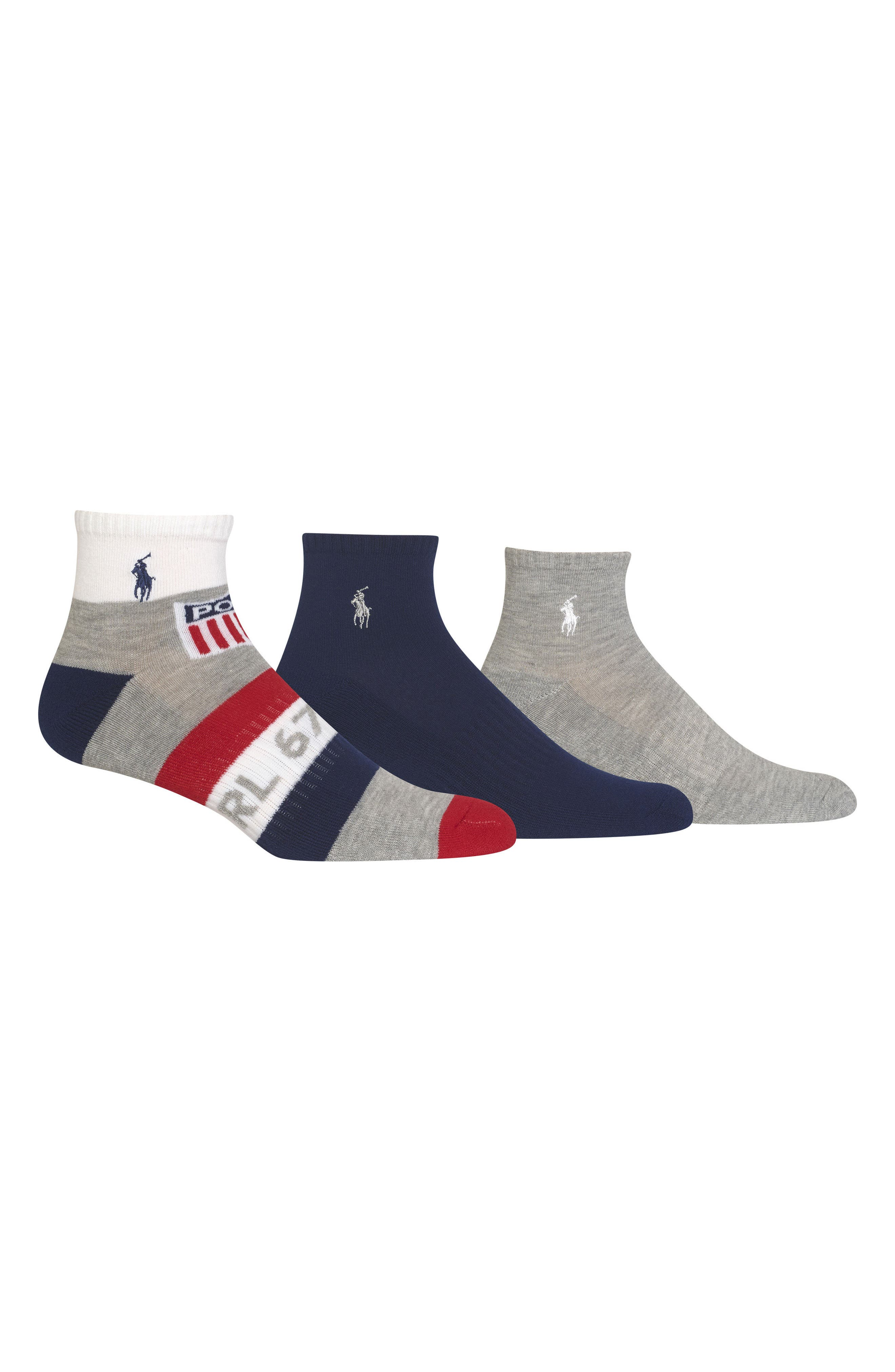 Ralph Lauren Athletic Shield 3-Pack Socks,                         Main,                         color, Grey/ White/ Red/ Blue