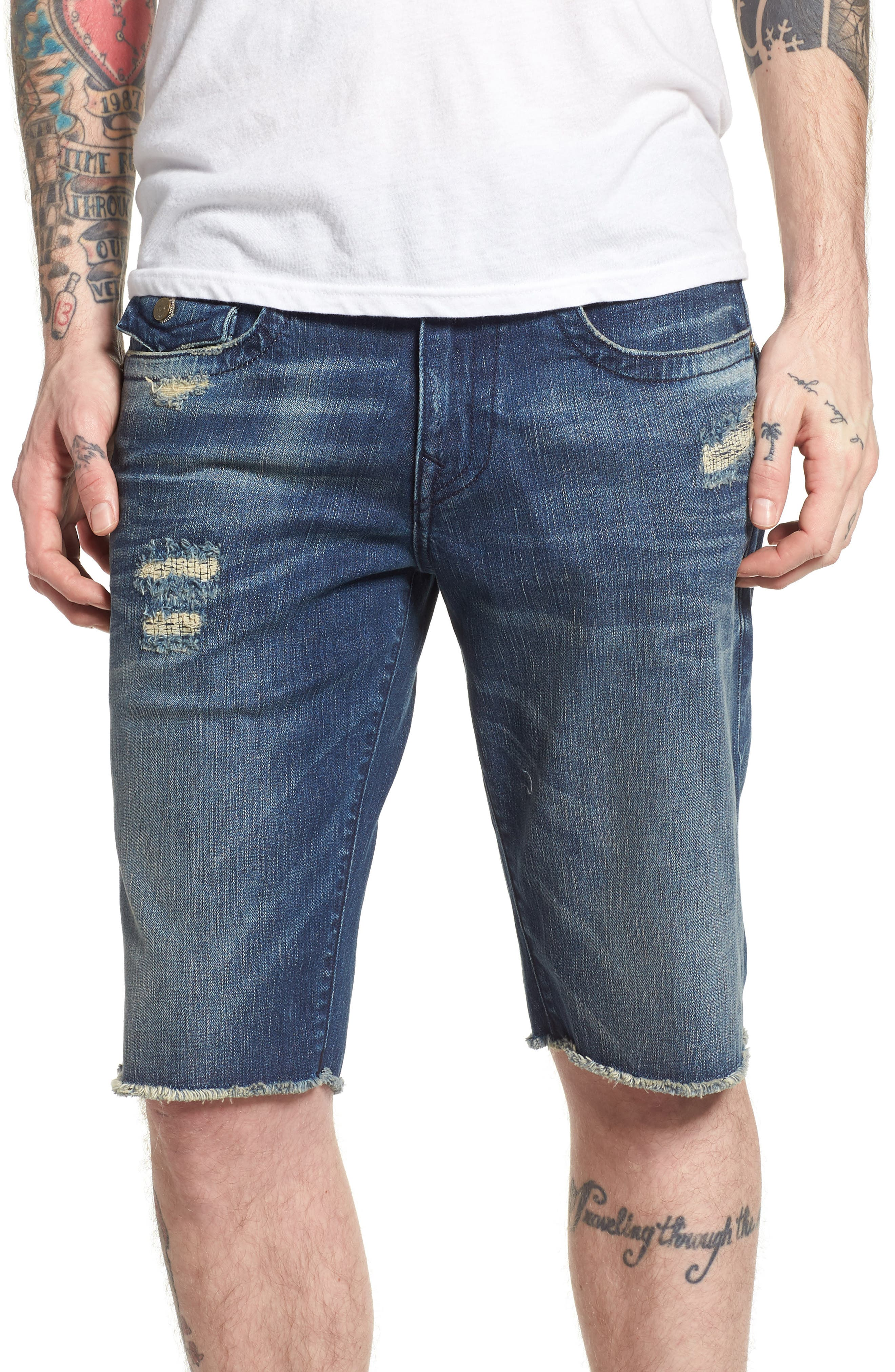True Religion Brands Jeans Ricky Relaxed Fit Shorts,                             Main thumbnail 1, color,                             Eorm Worn Azul