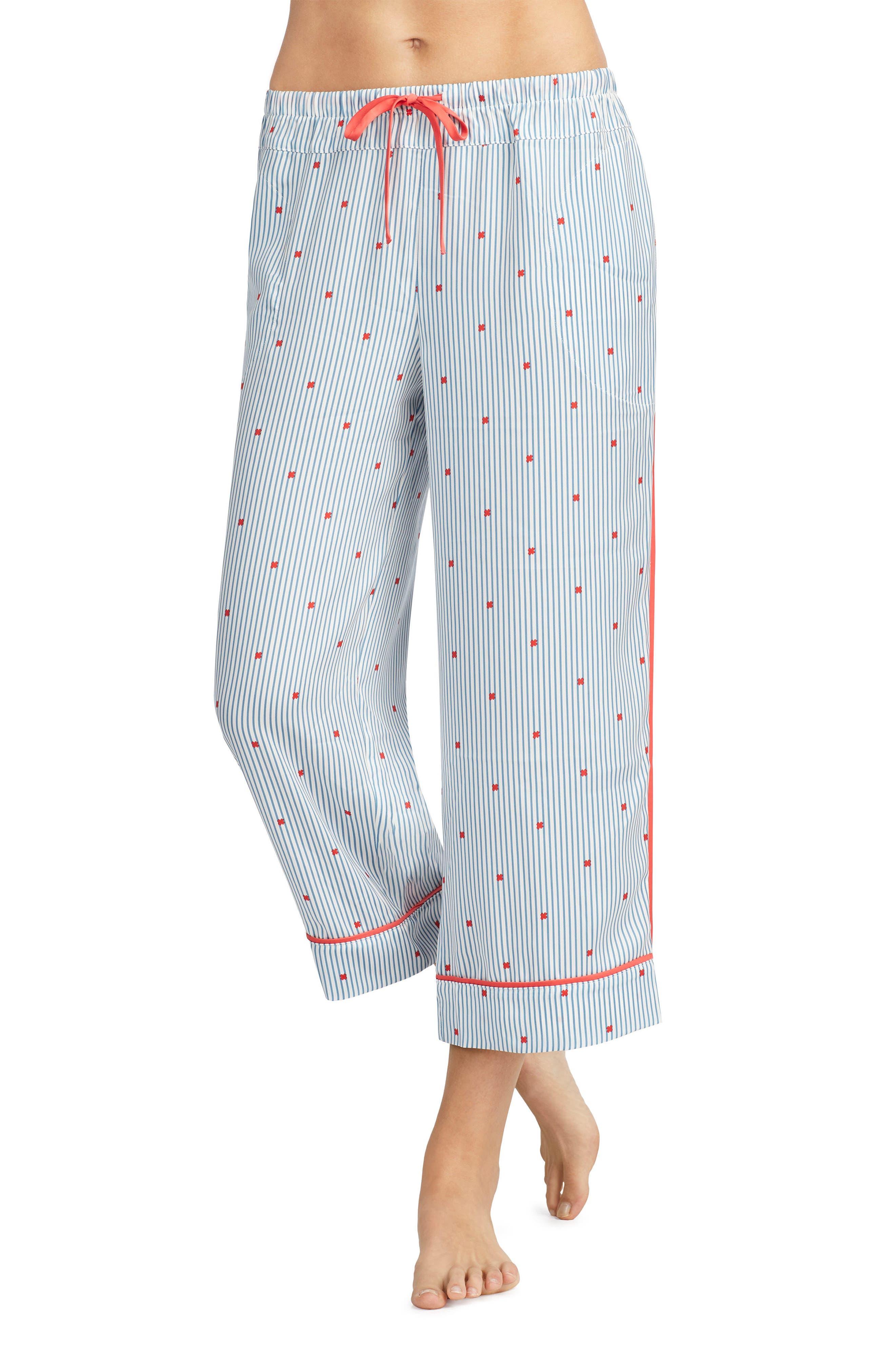 Main Image - Room Service Crop Satin Pajama Pants