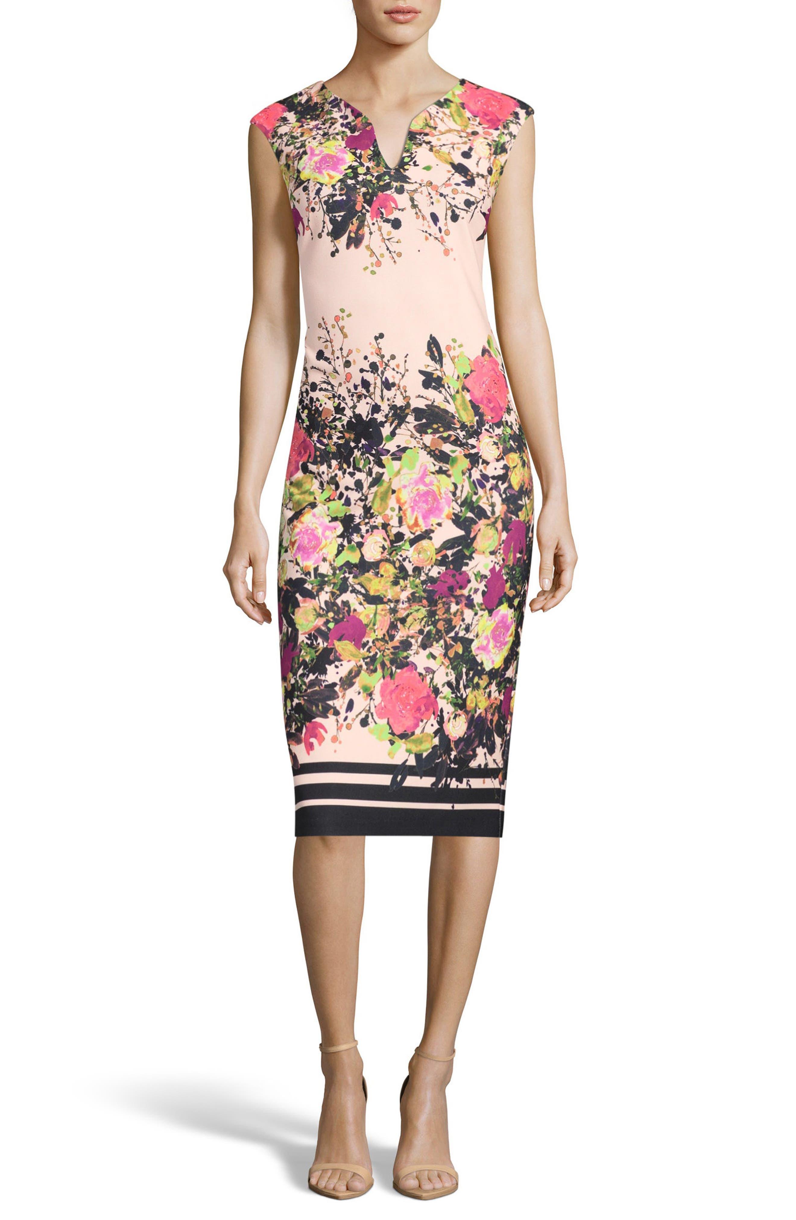 Floral Print Sheath Dress,                         Main,                         color, Ivory/ Pink