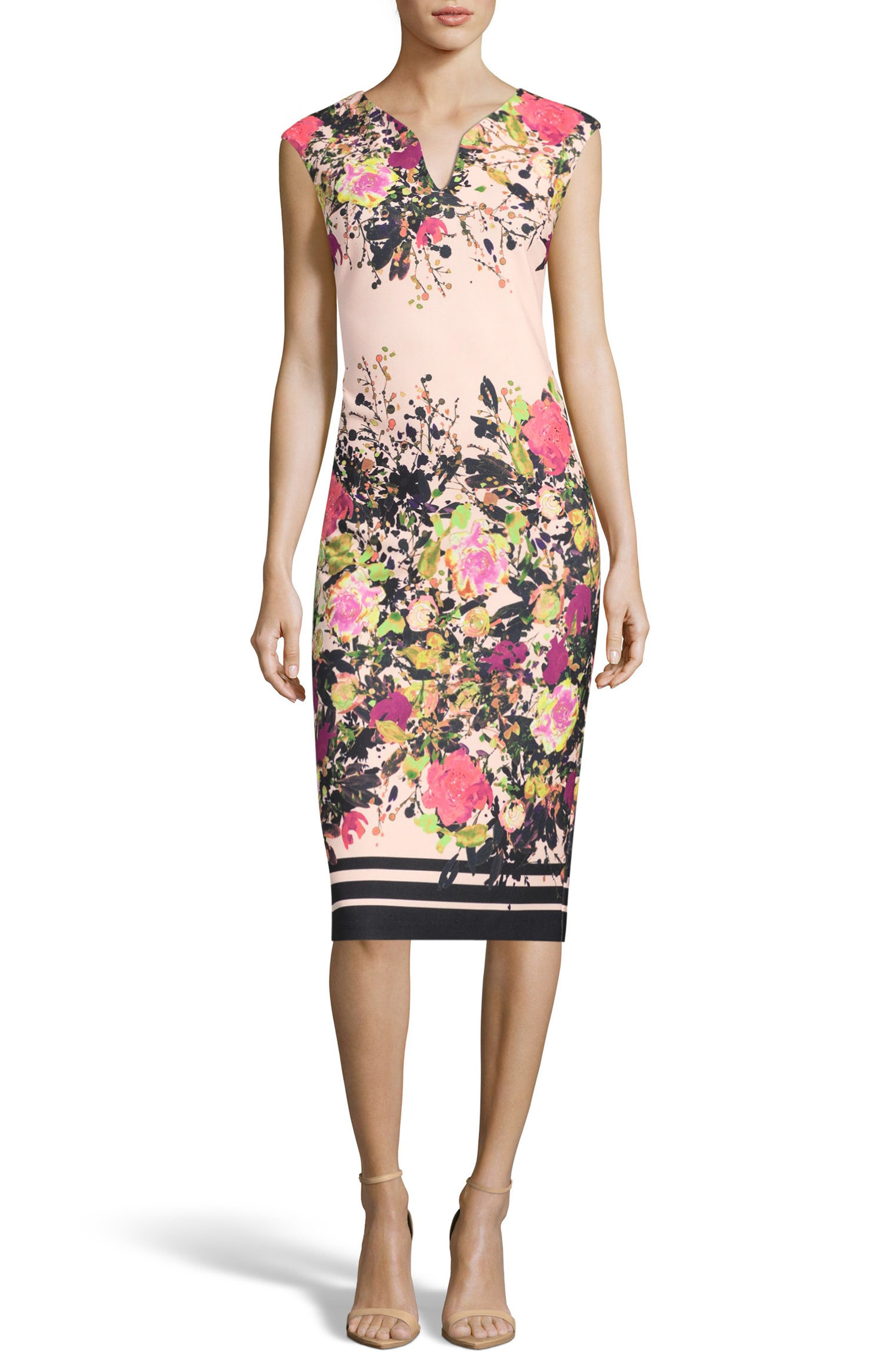 Floral Print Sheath Dress,                         Main,                         color, Ivory/ Pink