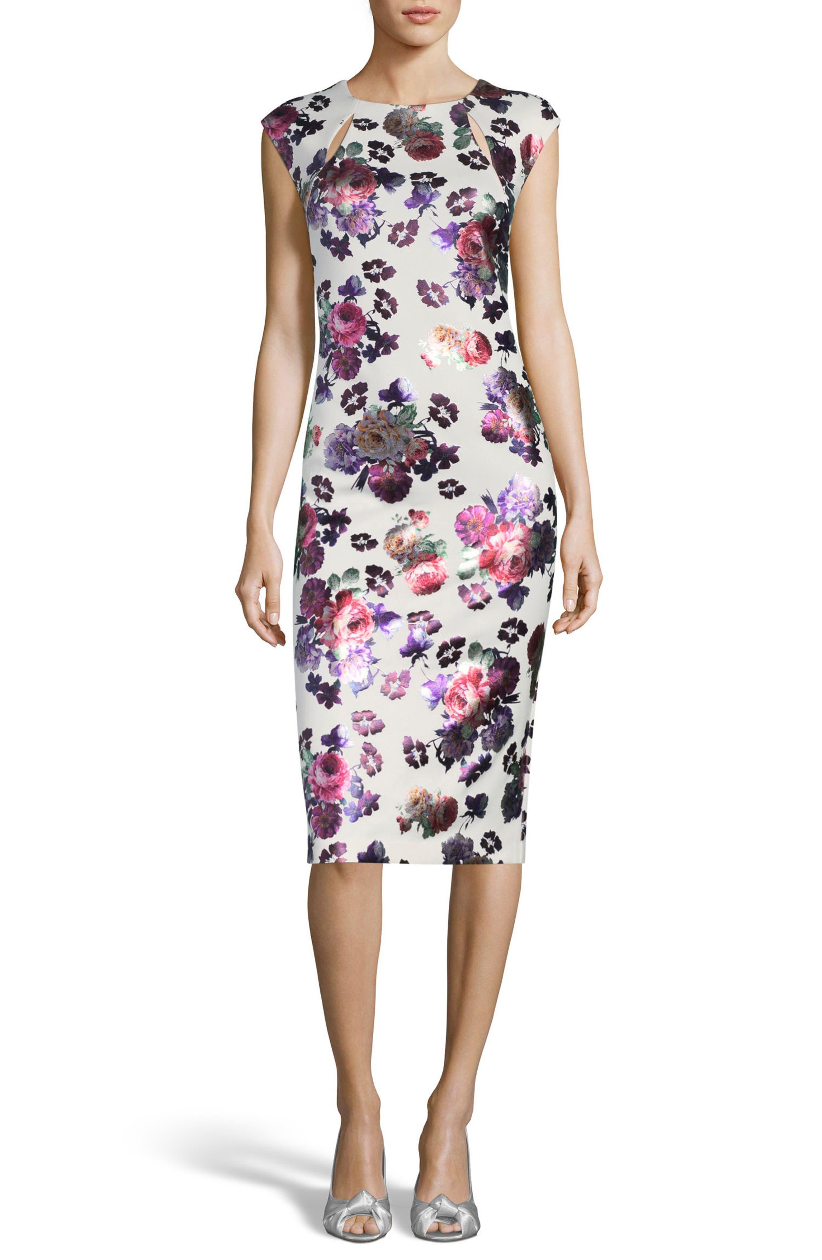 Foil Print Sheath Dress,                             Main thumbnail 1, color,                             Ivory/ Pink